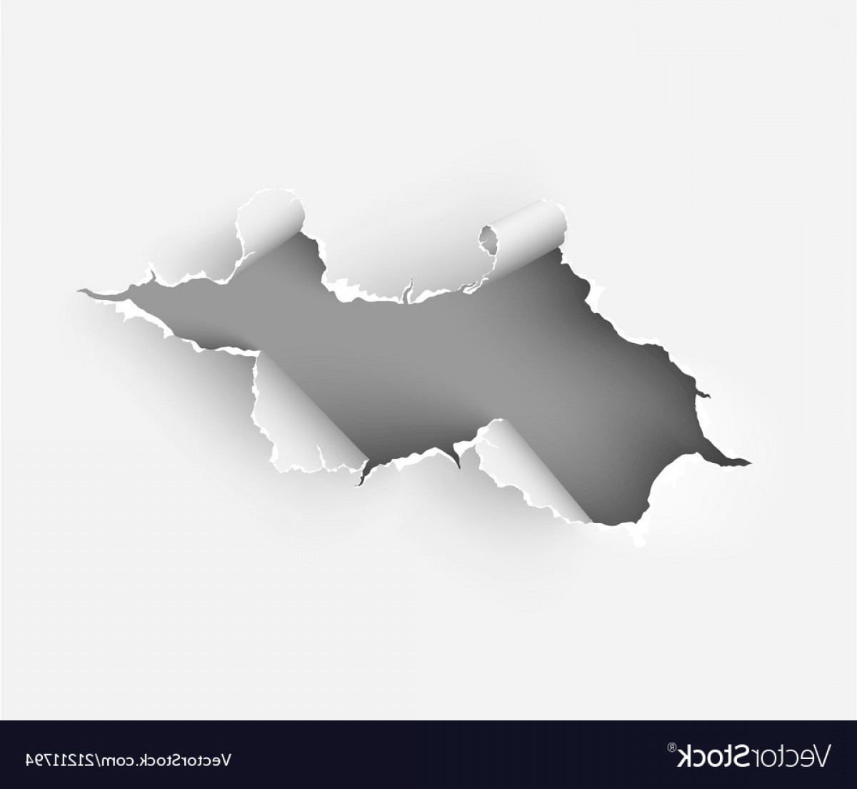 Ripped Black And White Vector: Hole Torn In Ripped Paper On White Vector