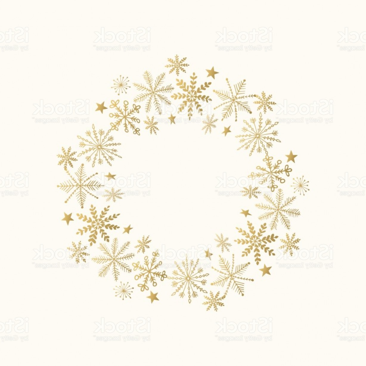 Vector Snowflake Wreath: Holiday Wreath With Snowflakes And Stars Hand Drawn Golden Frame Vector Illustration Gm