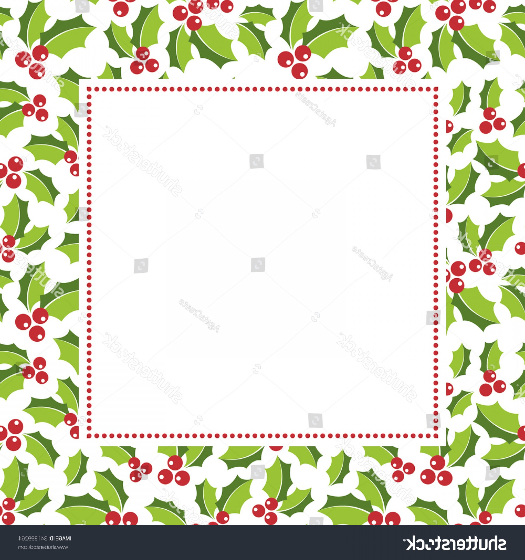 Holly Berry Vector Border: Holly Berry Boder Copy Space