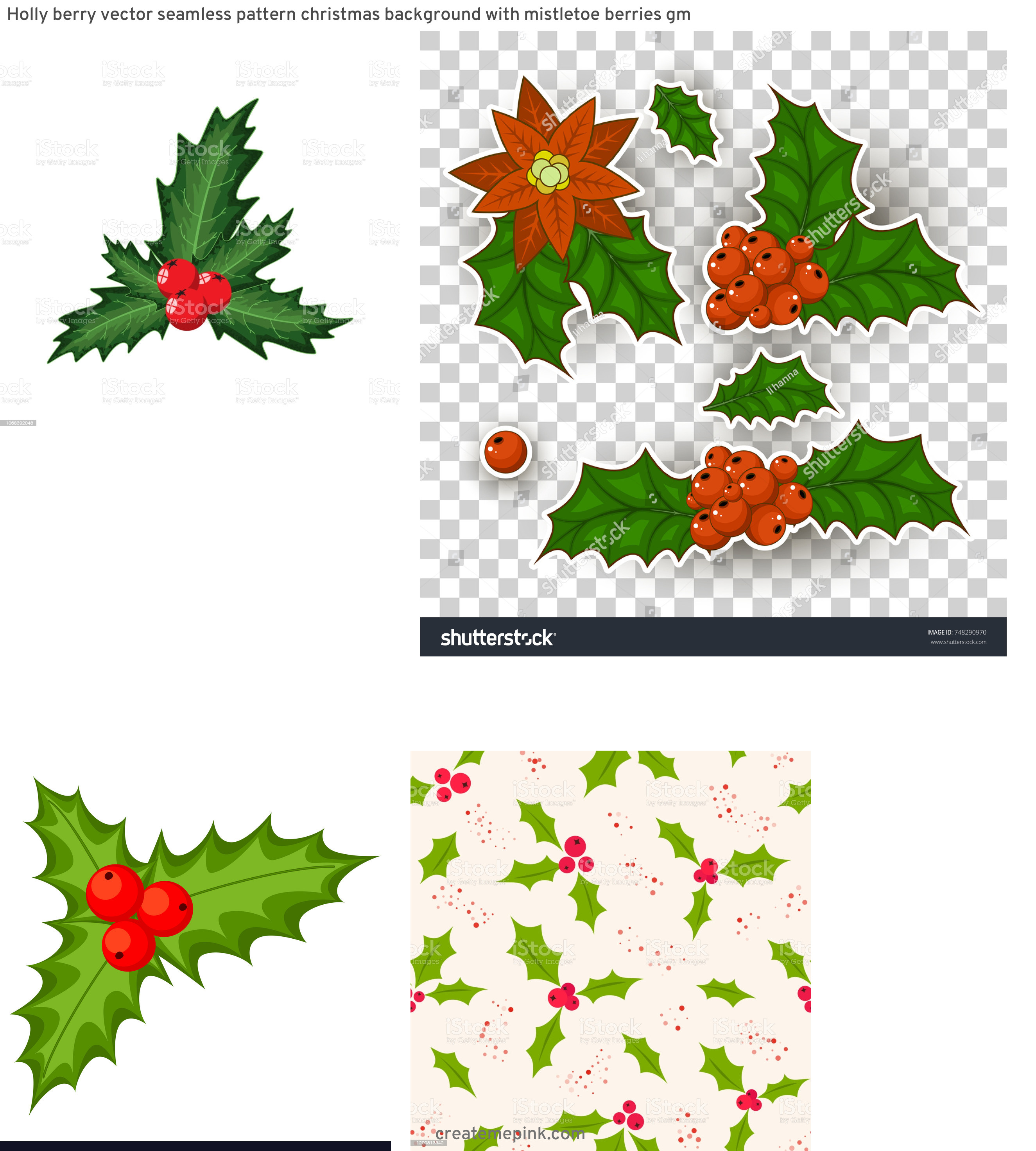 Holly Berry Vector Background: Holly Berry Vector Seamless Pattern Christmas Background With Mistletoe Berries Gm