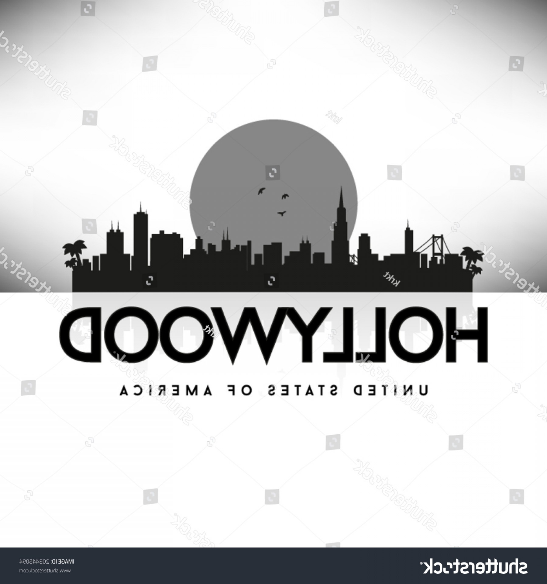 Hollywood Skyline Silhouette Vector: Hollywood United States America Citiesstates Vector