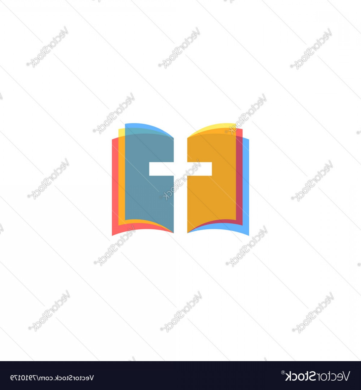 Holy Bible Vector: Holy Bible Icon Colorful Pages Religion Logo Vector