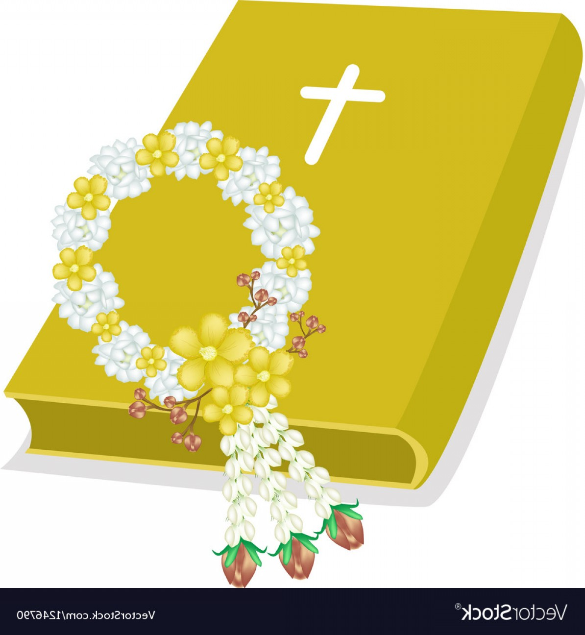 Holy Bible Vector: Holy Bible With Wooden Cross And Flower Garland Vector