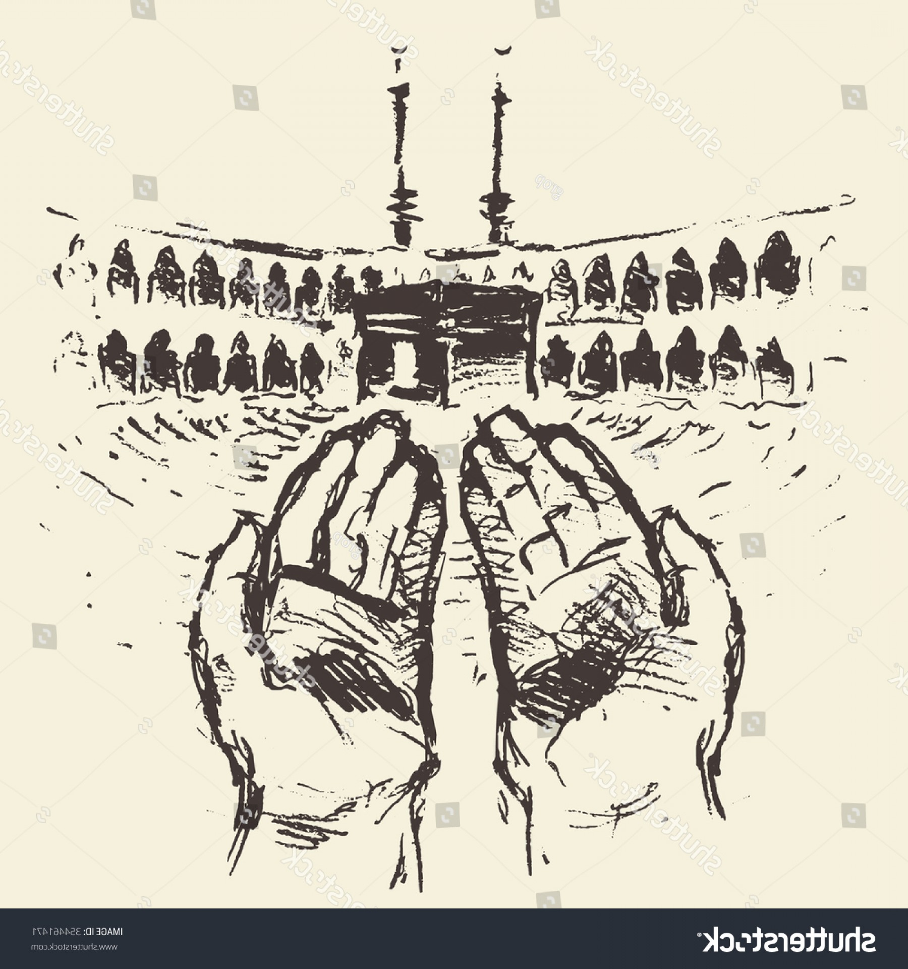 Praying Hands Vectors Shutterstock: Holy Kaaba Mecca Saudi Arabia Praying