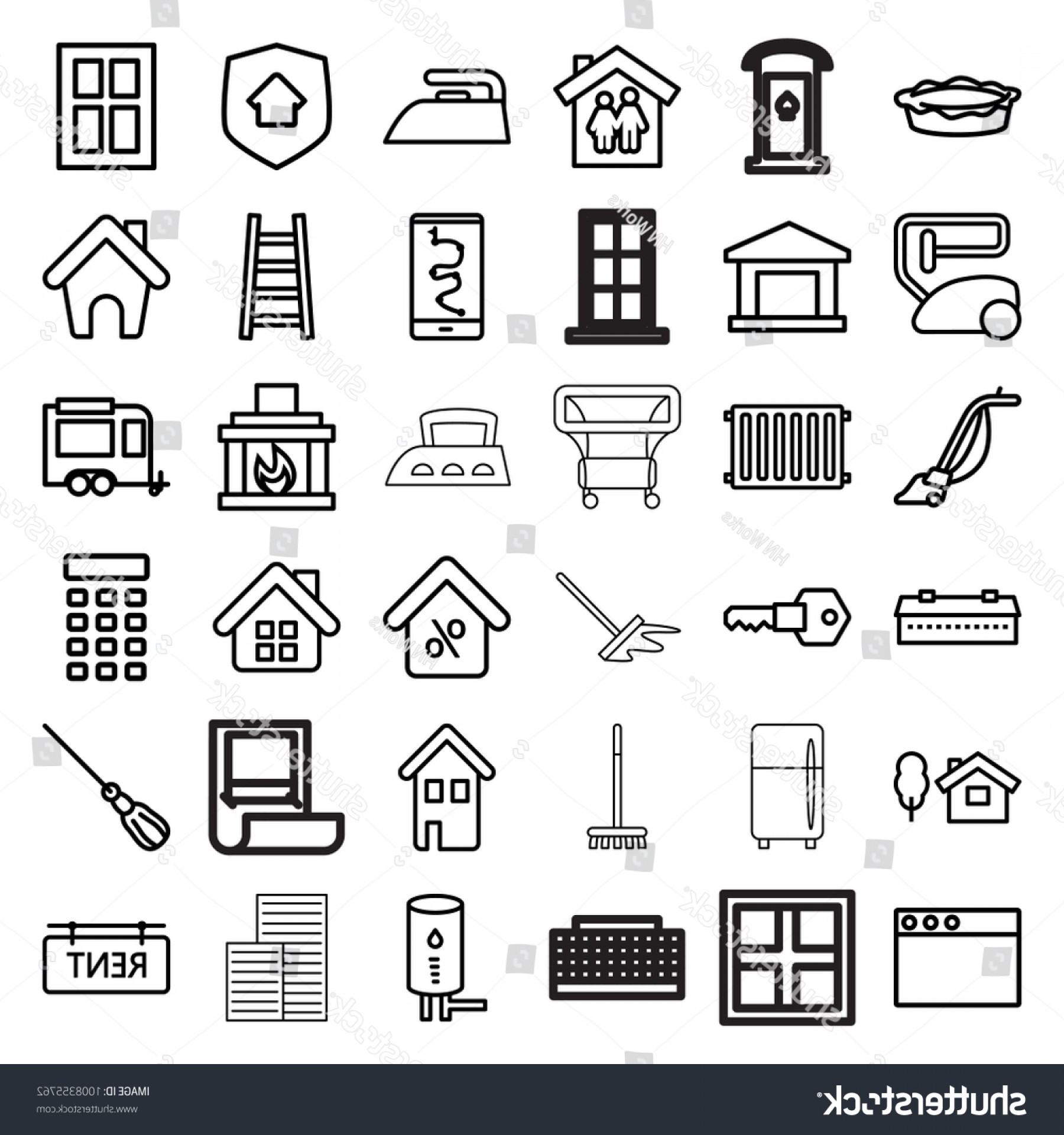 Vector Vacuum Trailer: Home Icons Set Editable Outline
