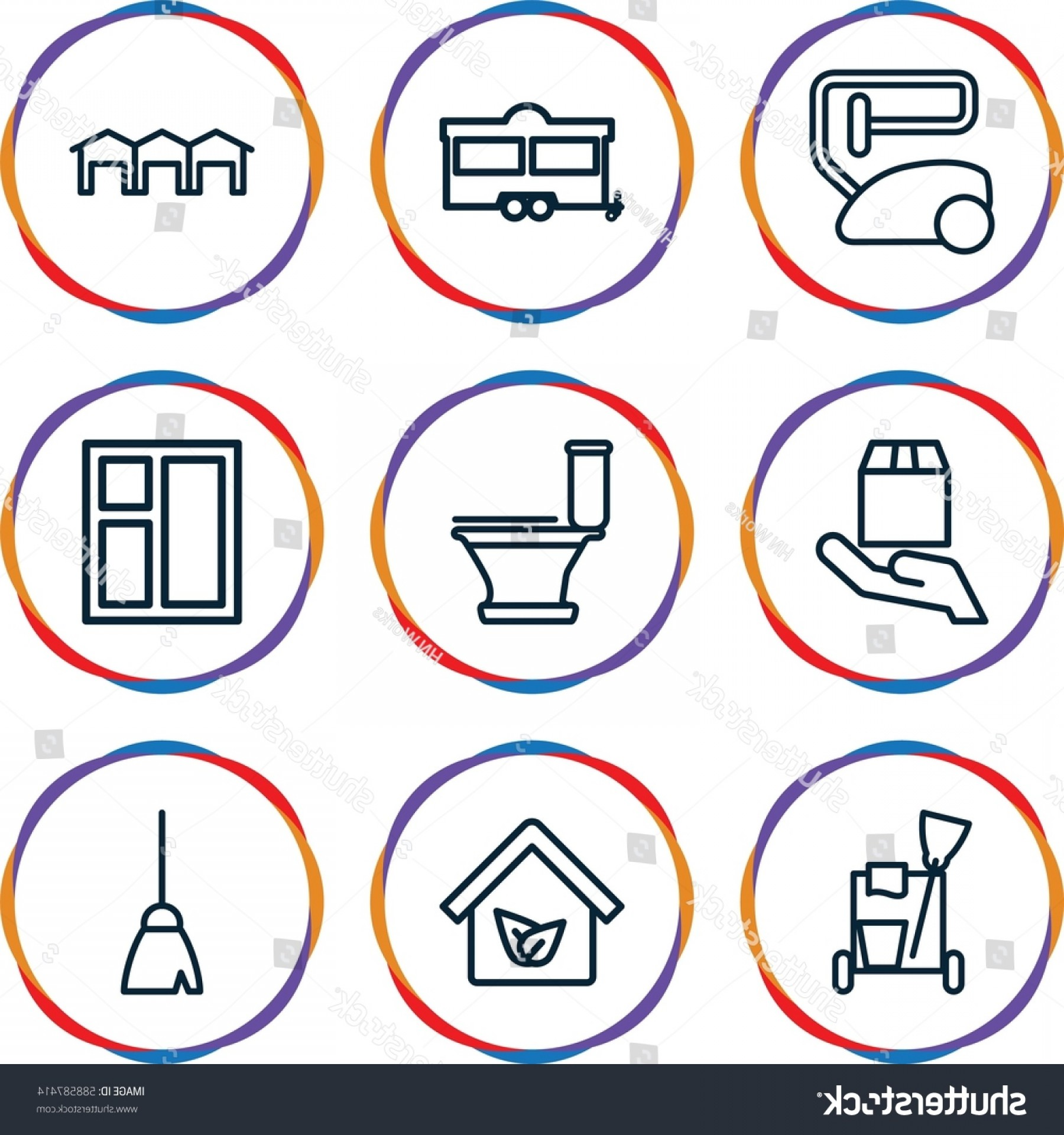 Vector Vacuum Trailer: Home Icons Set Outline Such
