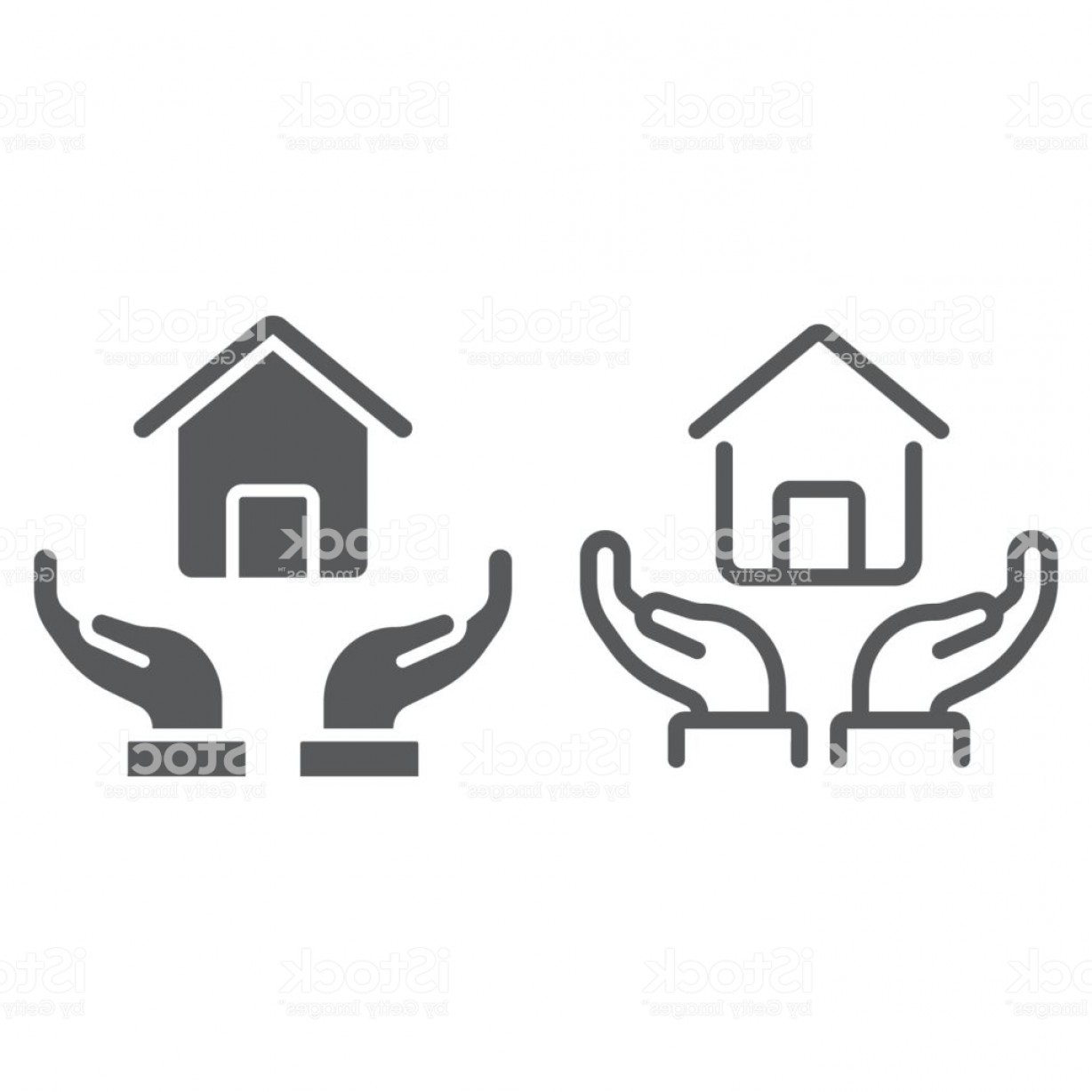 Wall Art Vector Graphics For The Home: Home In Hands Line And Glyph Icon Real Estate And Home Home Protection Sign Vector Gm