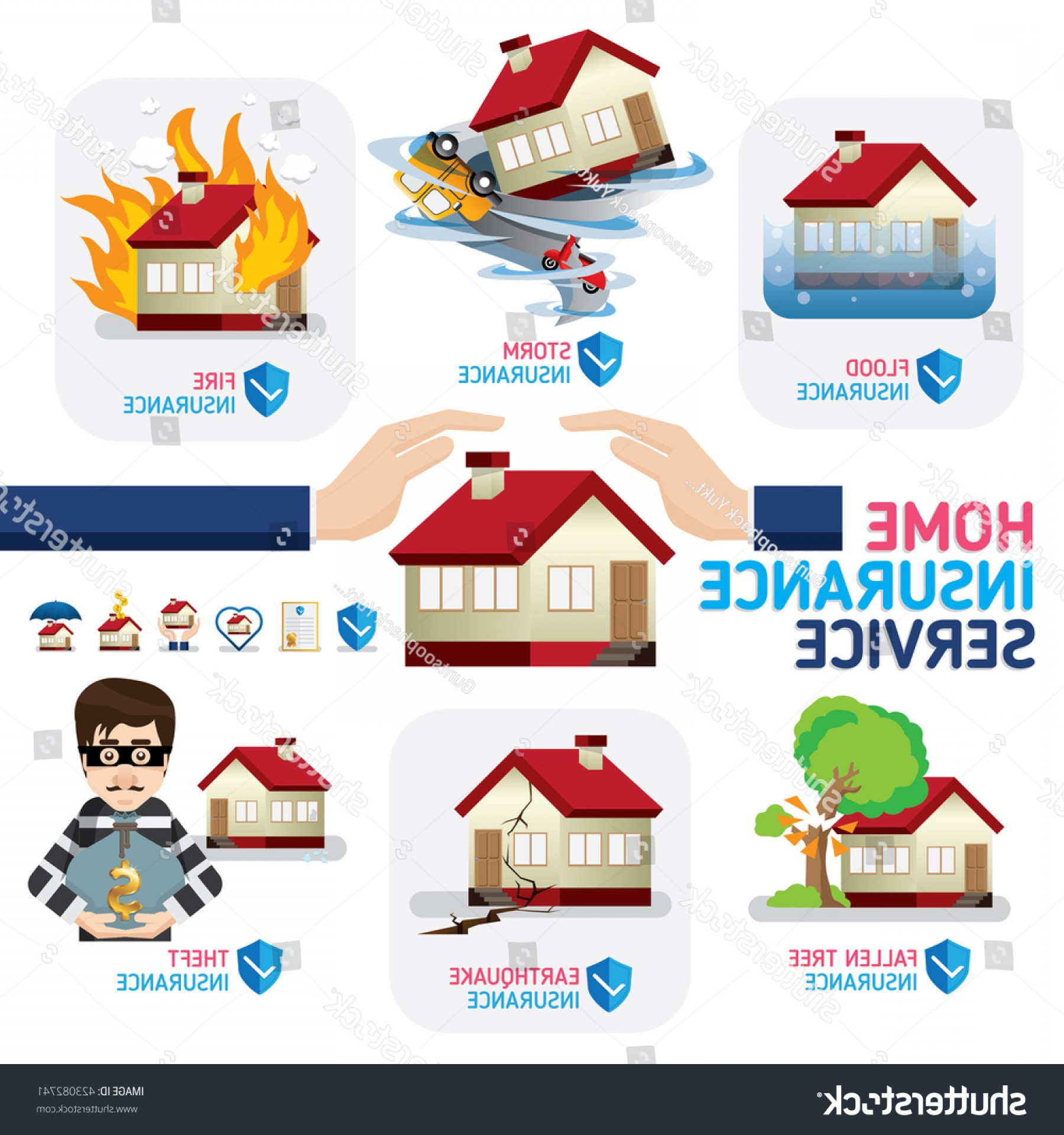 The Storm Vector Layout System: Home Insurance Business Service Icons Template