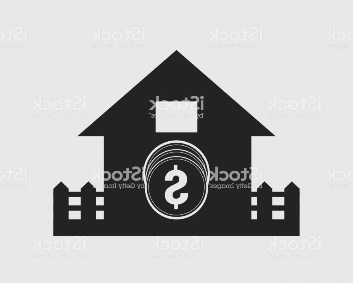 Vector House Sign: Home Loan Icon Coin Symbol With House Sign Gm
