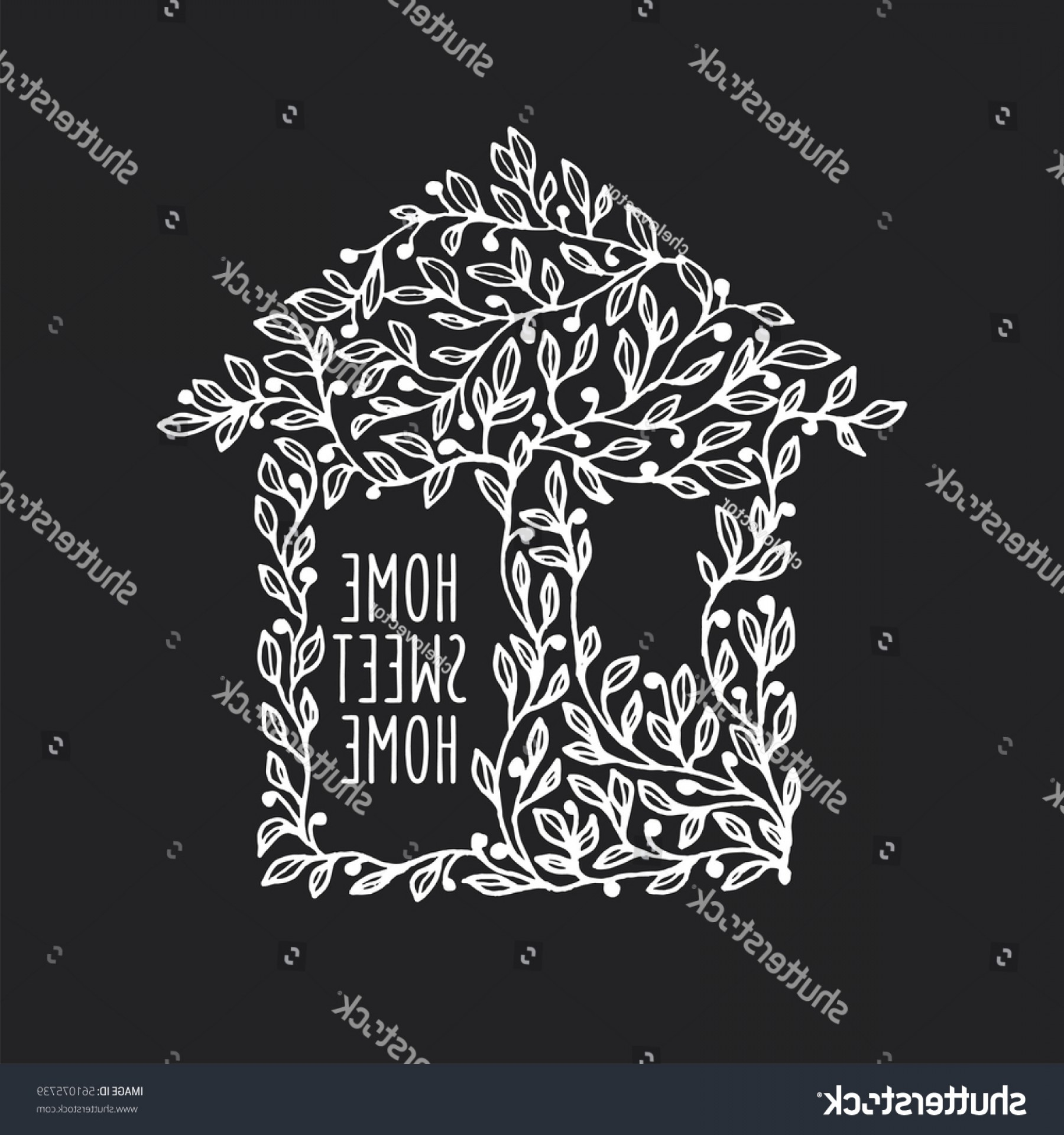 Wall Art Vector Graphics For The Home: Home Sweet Hand Drawn Poster House