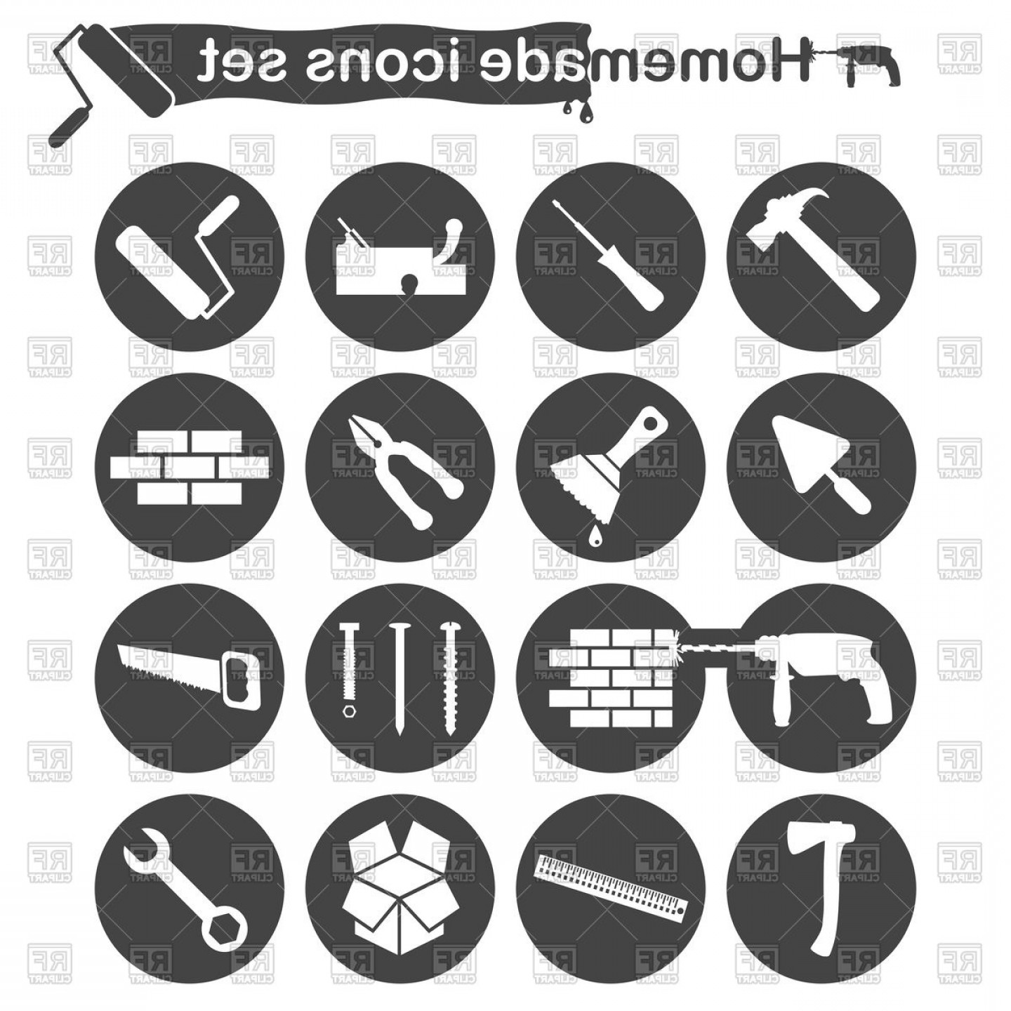 General Contractor Vector: Homemade Construction And Renovation Icons Set Vector Clipart