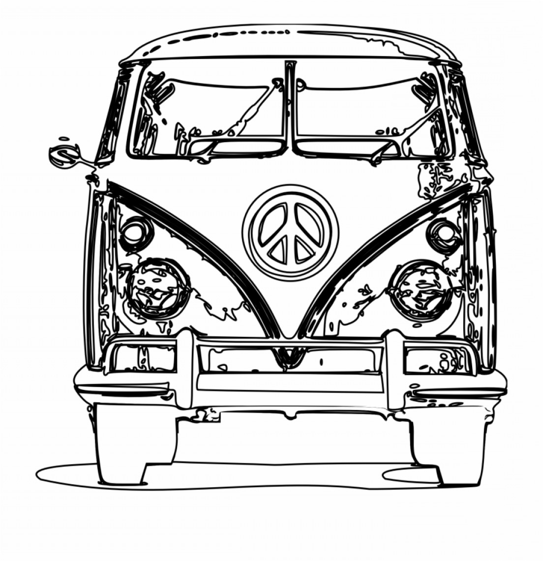 Volkswagen Bus Vector: Homorxvector Library Library Bus Black And White Panda