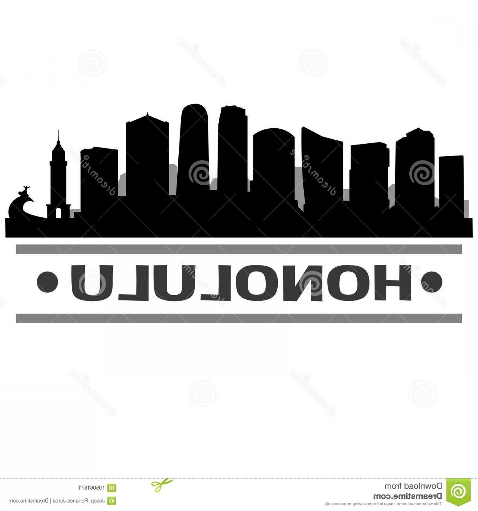 City Of Honolulu At Night Vector: Honolulu Hawaii United States America Usa Icon Vector Art Design Skyline Night Flat Shadow Emblematic Elements City Image