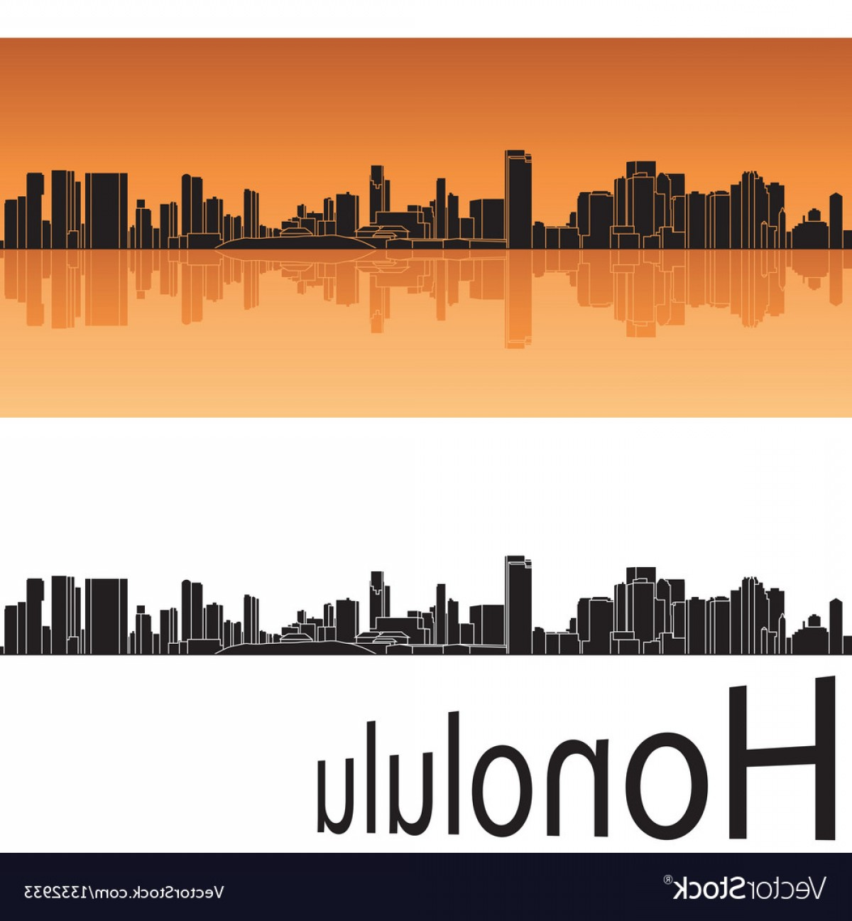 City Of Honolulu At Night Vector: Honolulu Skyline In Orange Background Vector