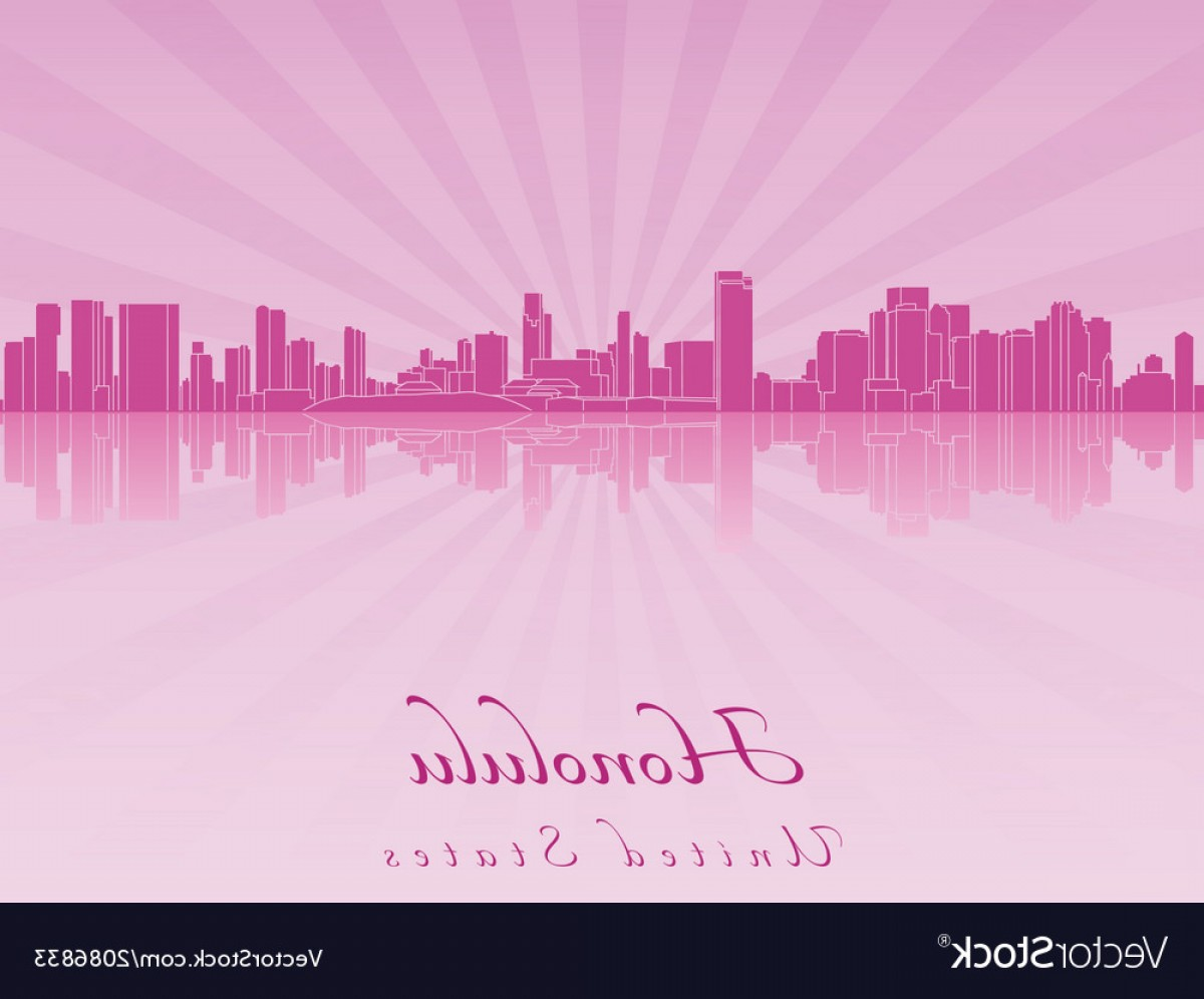 City Of Honolulu At Night Vector: Honolulu Skyline In Purple Radiant Orchid Vector