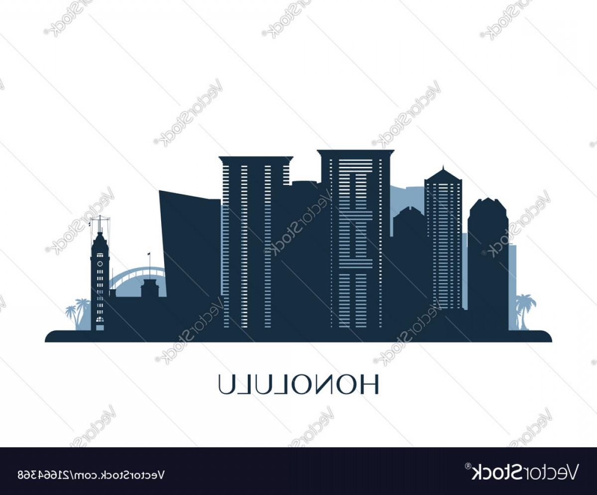 City Of Honolulu At Night Vector: Honolulu Skyline Monochrome Silhouette Vector