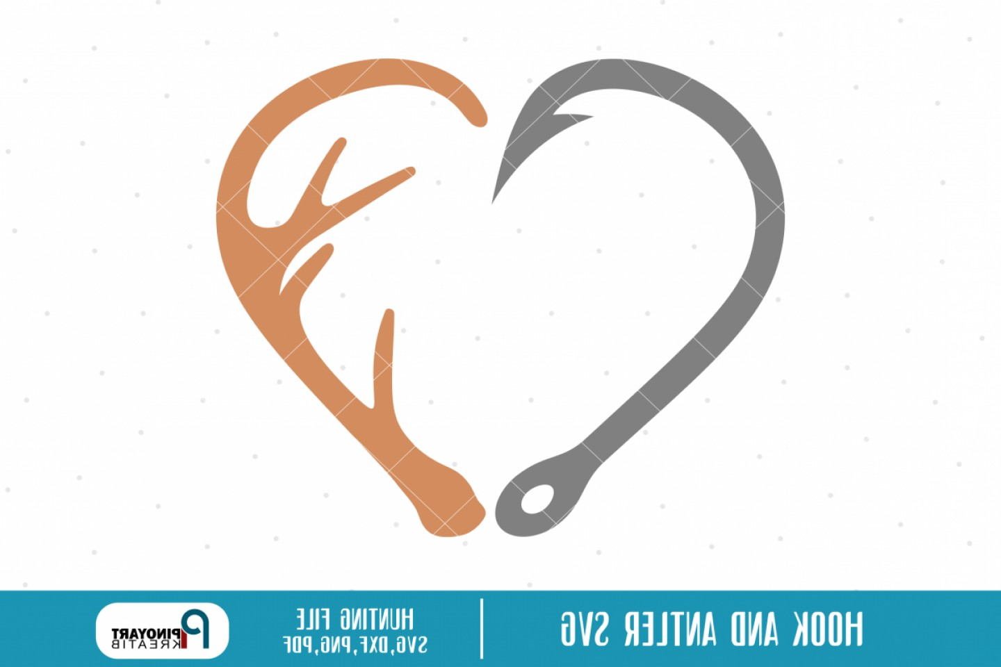 Hunting Heart Vector: Hook And Antler Heart Svg A Hunting Vector File