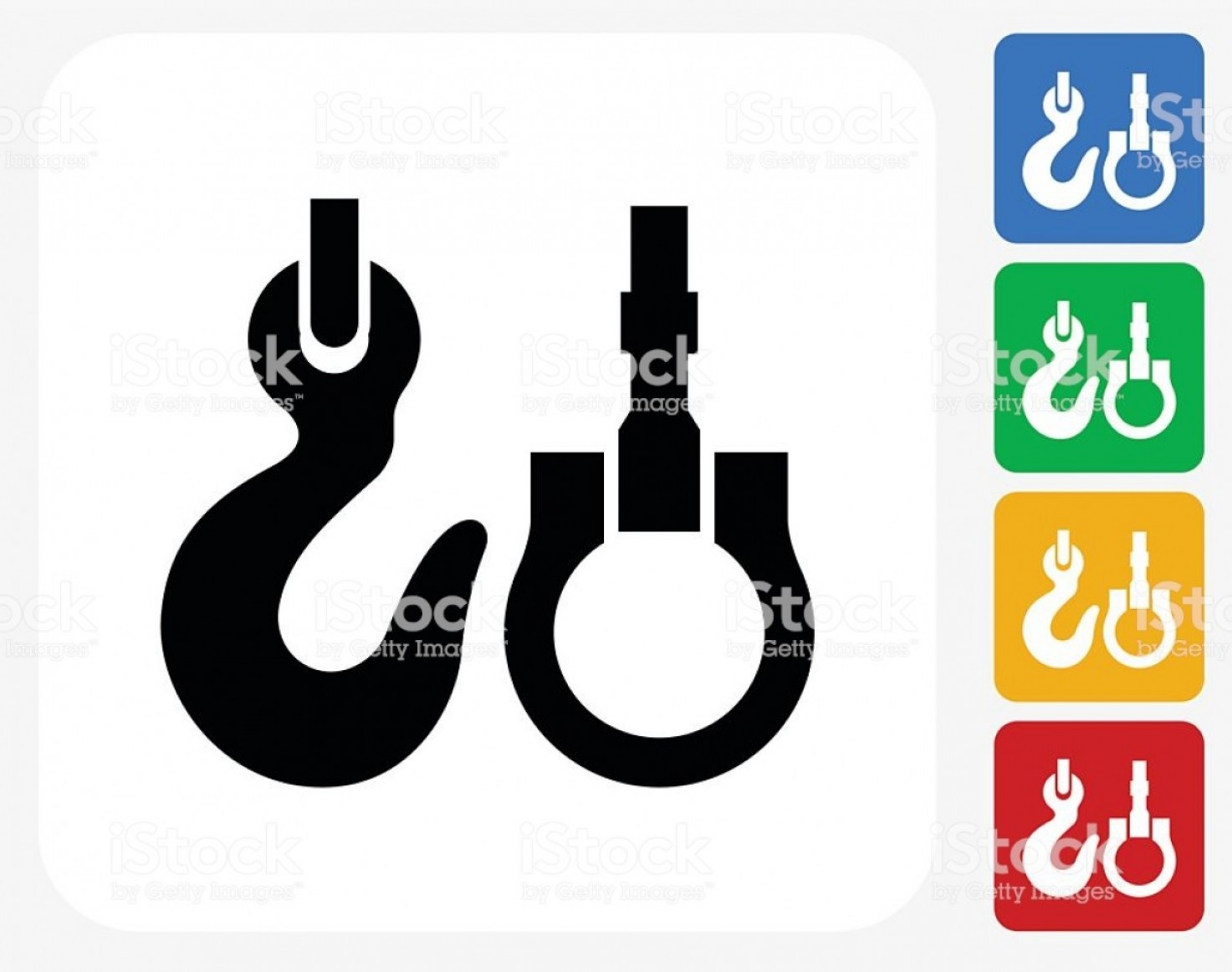 Tow Hook Vector Art: Hook And Crane Icon Flat Graphic Design Gm