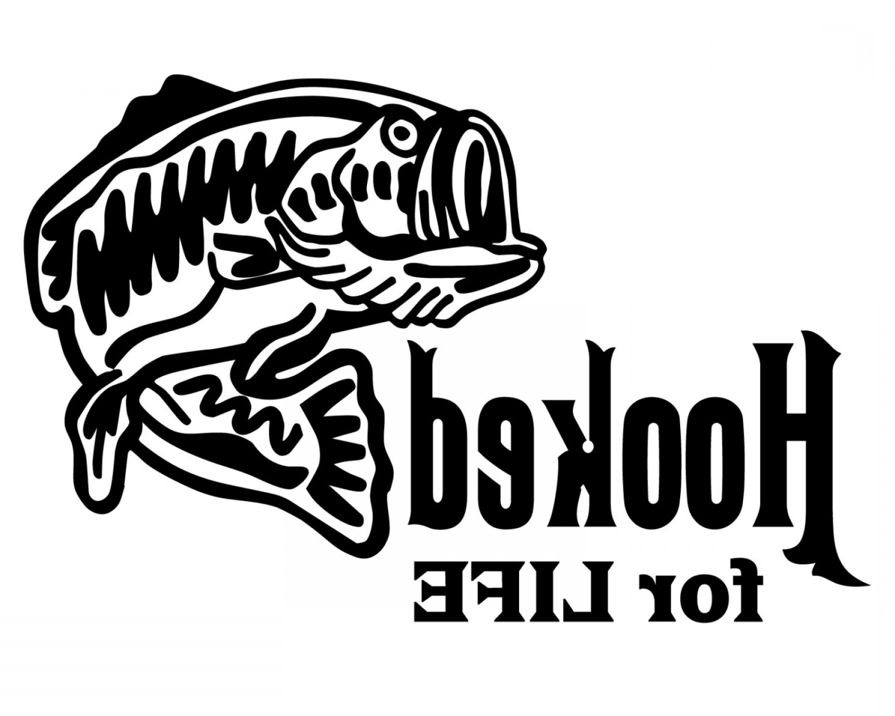 Vector Fishing Decals: Hooked For Life Fishing Decal Bass