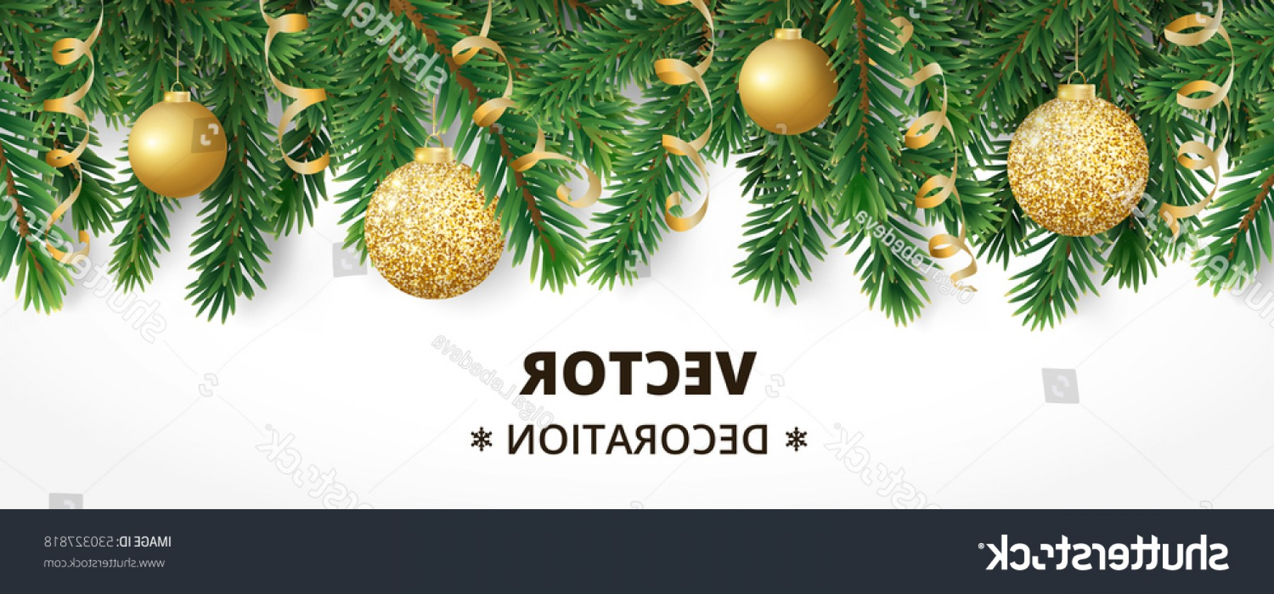 Christmas Horizontal Vector: Horizontal Banner Christmas Tree Garland Ornaments
