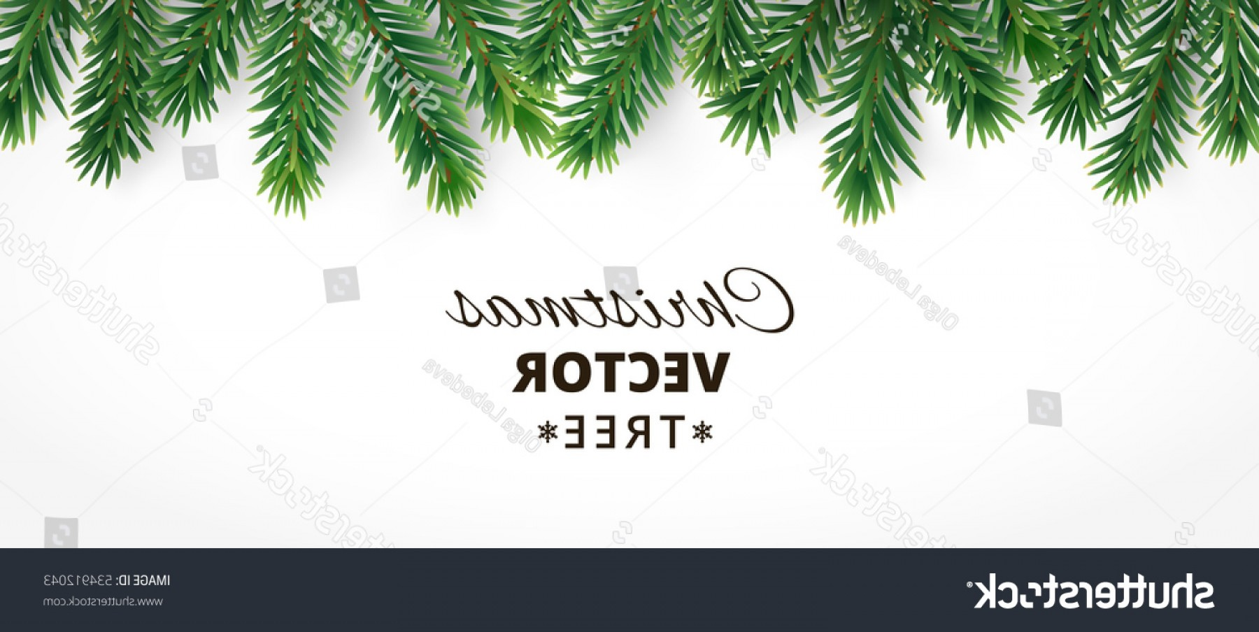 Christmas Horizontal Vector: Horizontal Banner Vector Christmas Tree Branches