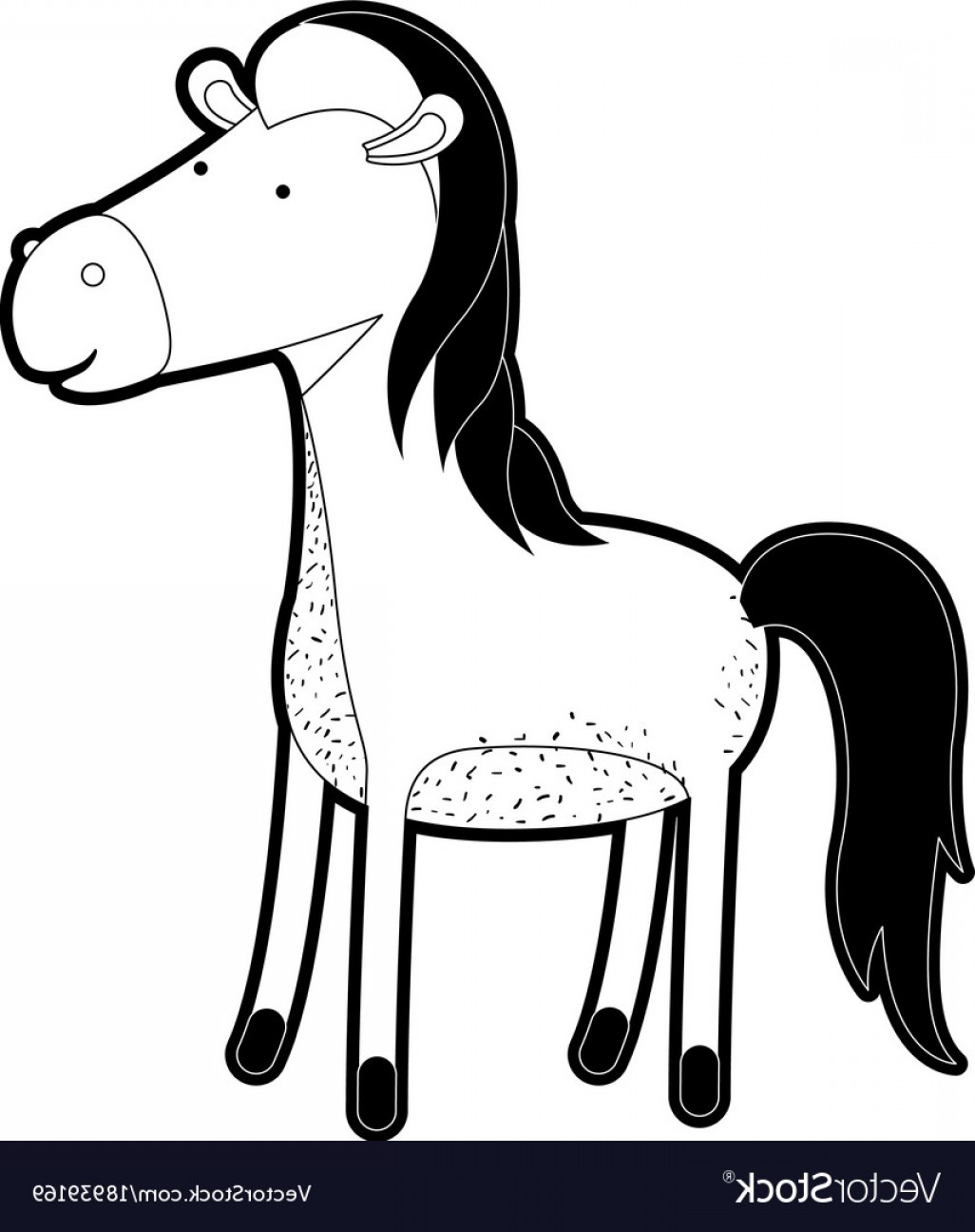 Black Horse Vector Scene: Horse Cartoon In Black Silhouette With Thick Vector