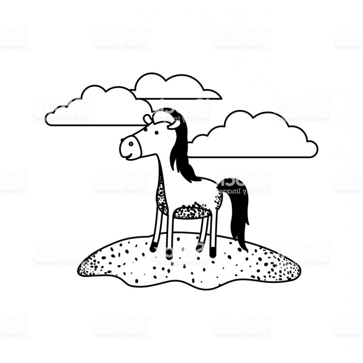 Black Horse Vector Scene: Horse Cartoon In Outdoor Scene With Clouds In Black Sections Silhouette Gm