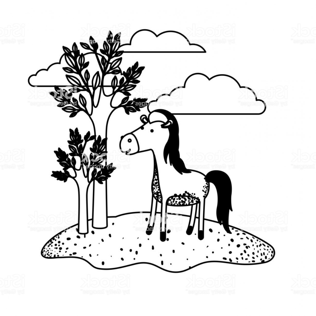 Black Horse Vector Scene: Horse Cartoon In Outdoor Scene With Trees And Clouds In Black Sections Silhouette Gm