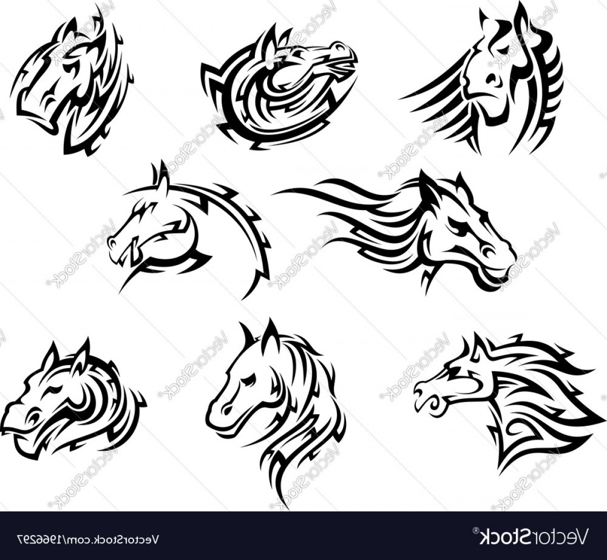 Tribal Vector Horseshoe Image: Horse Head Tribal Tattoos Vector