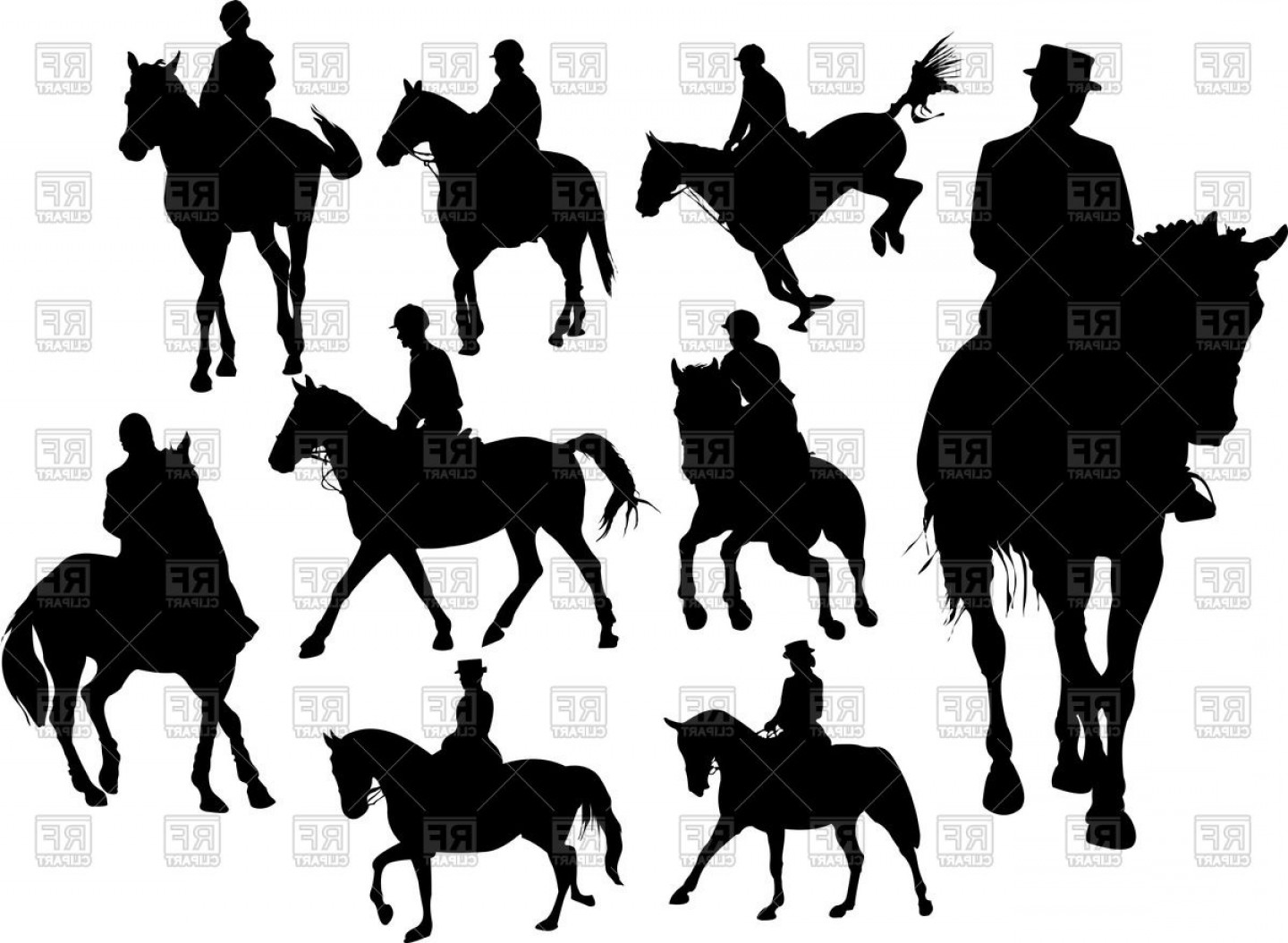Horse And Rider Vector Art: Horse Rider Silhouettes Vector Clipart