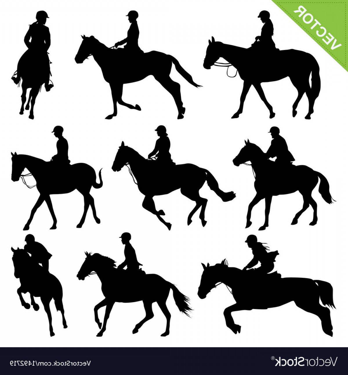 Horse And Rider Vector Art: Horse Riding Silhouettes Collections Vector