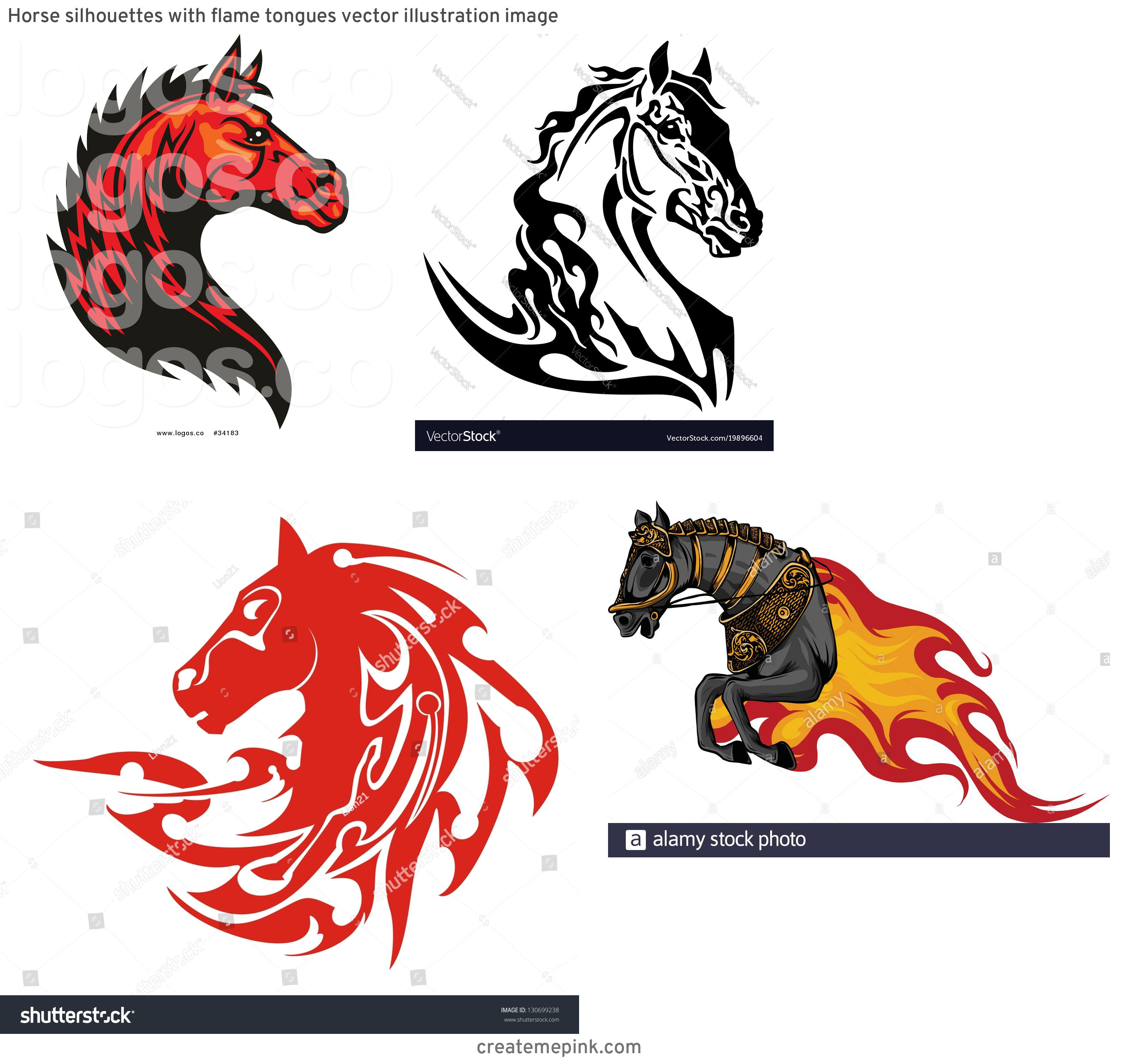 Horse With Flames Vector: Horse Silhouettes With Flame Tongues Vector Illustration Image