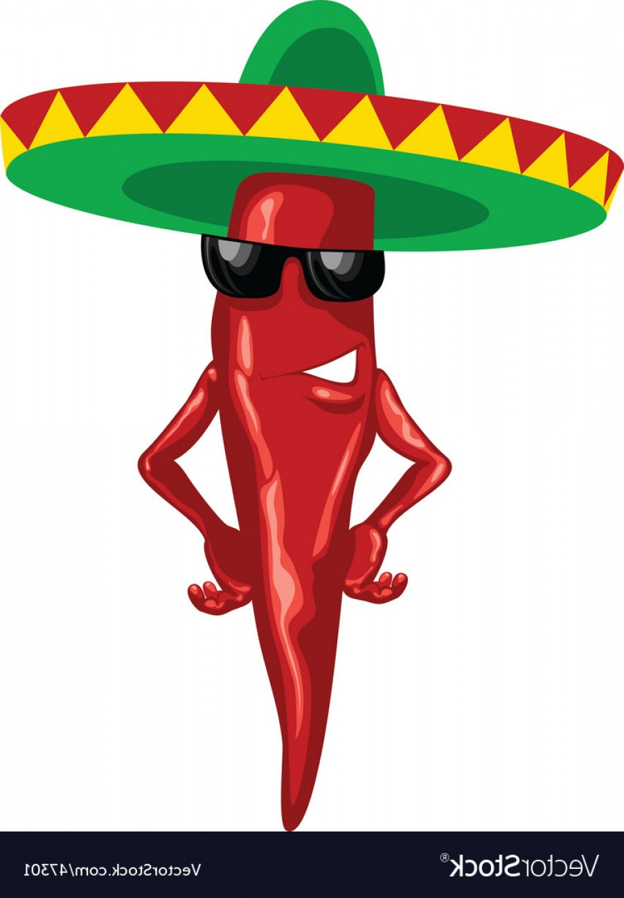 Vector Mexican Chili: Hot Mexican Chili Green Sombrero Vector