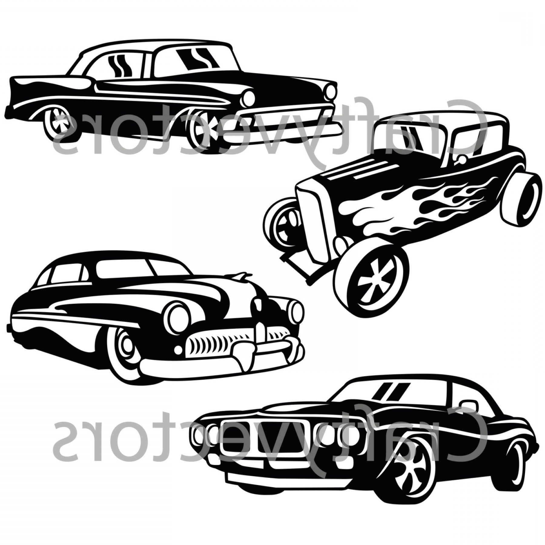 2005 Ford Mustang GT Drawing Vector: Hot Rod Cars Svg Vector Files