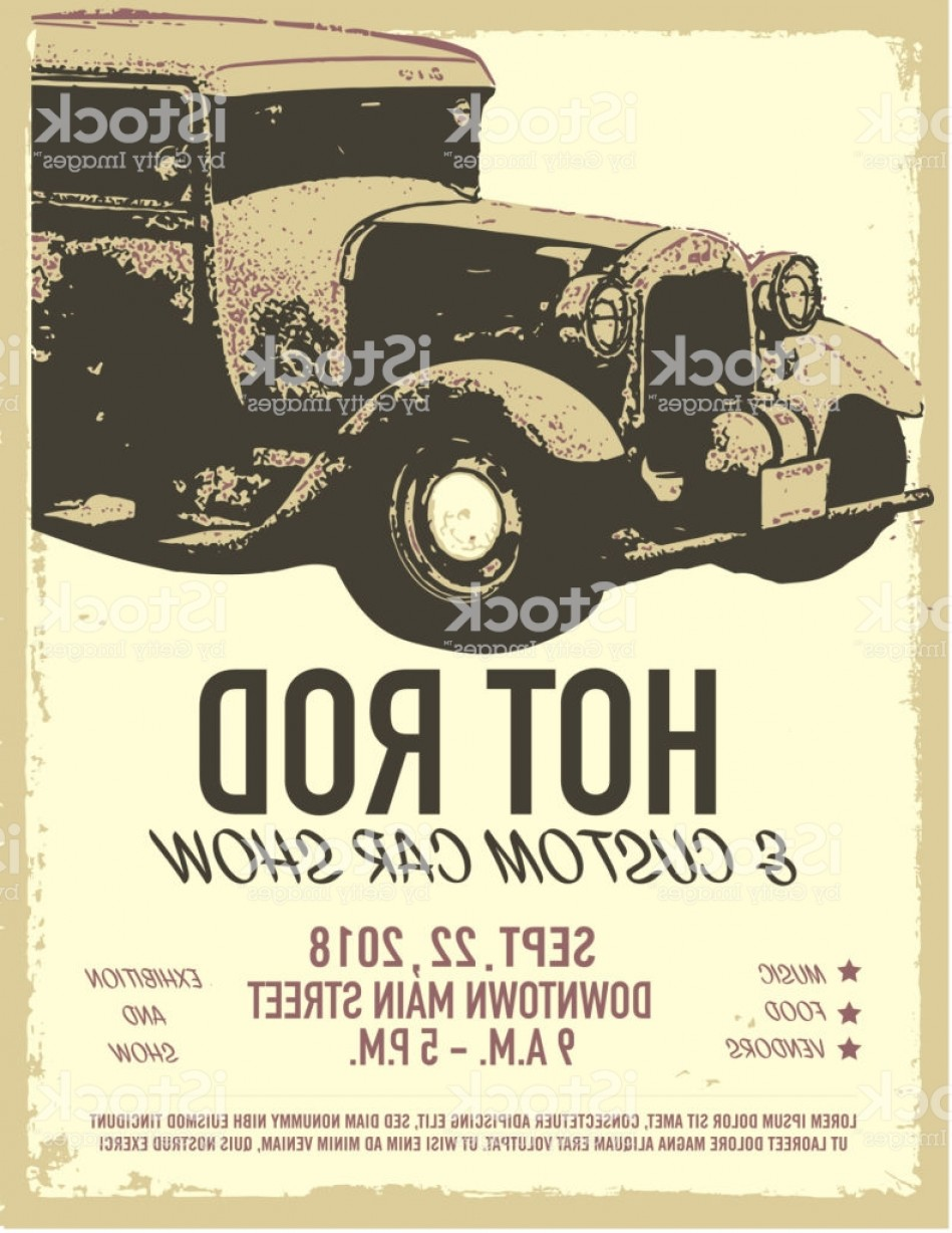 Classic Street Rod Vector Art: Hot Rod Classic Car Show And Exhibition Advertisement Poster Design Template Gm