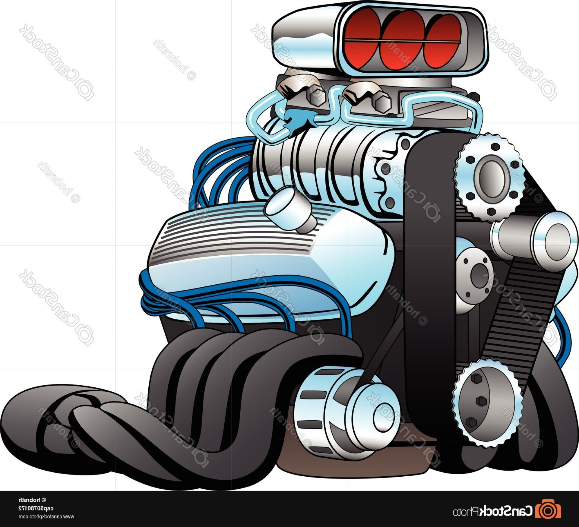 Hot Rod Race Car Engine Cartoon Vector | CreateMePink