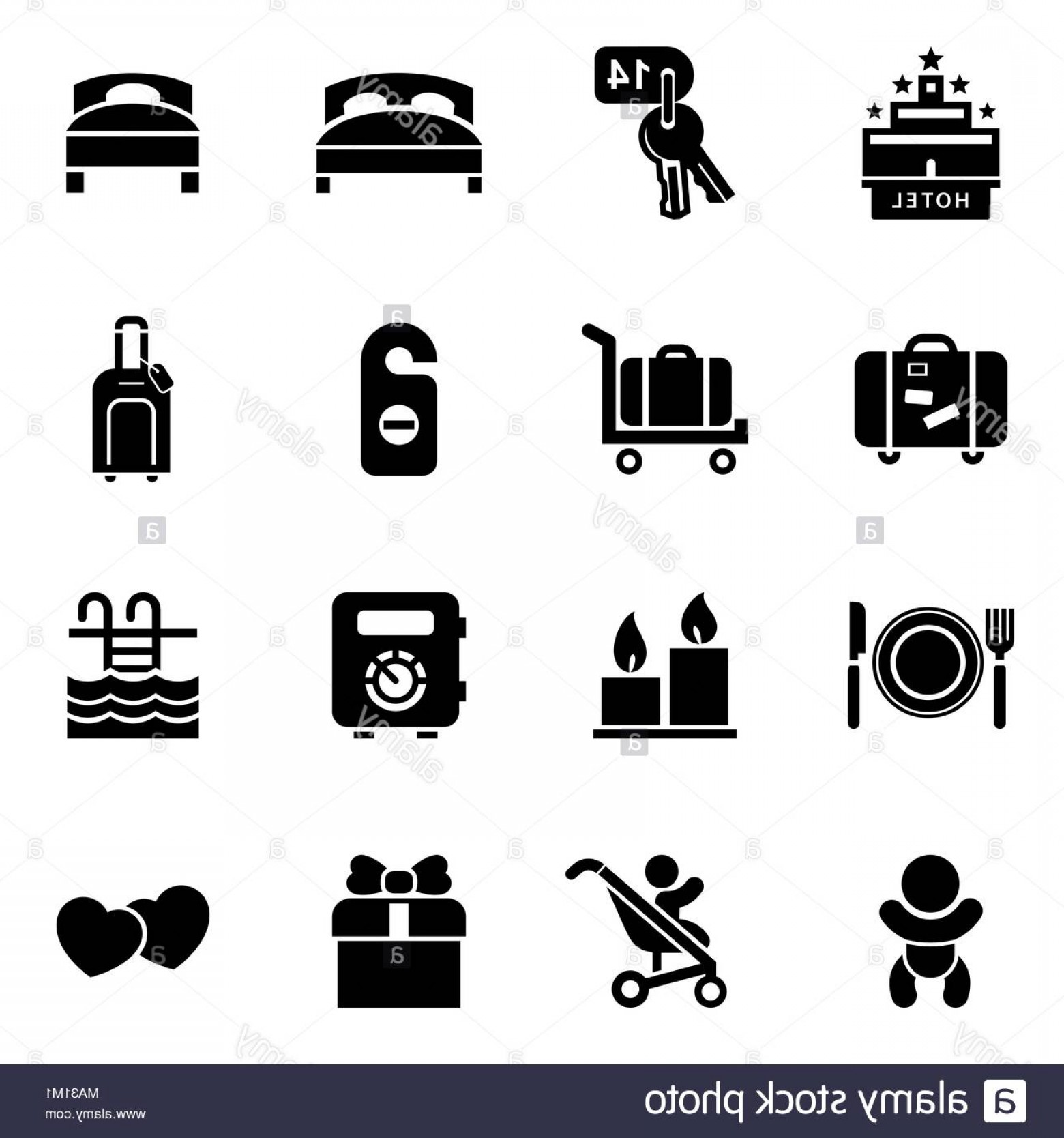 In Icon Stock Vector: Hotel Icon Set Simple Flat Style Vector Illustration Hotel Icons Image