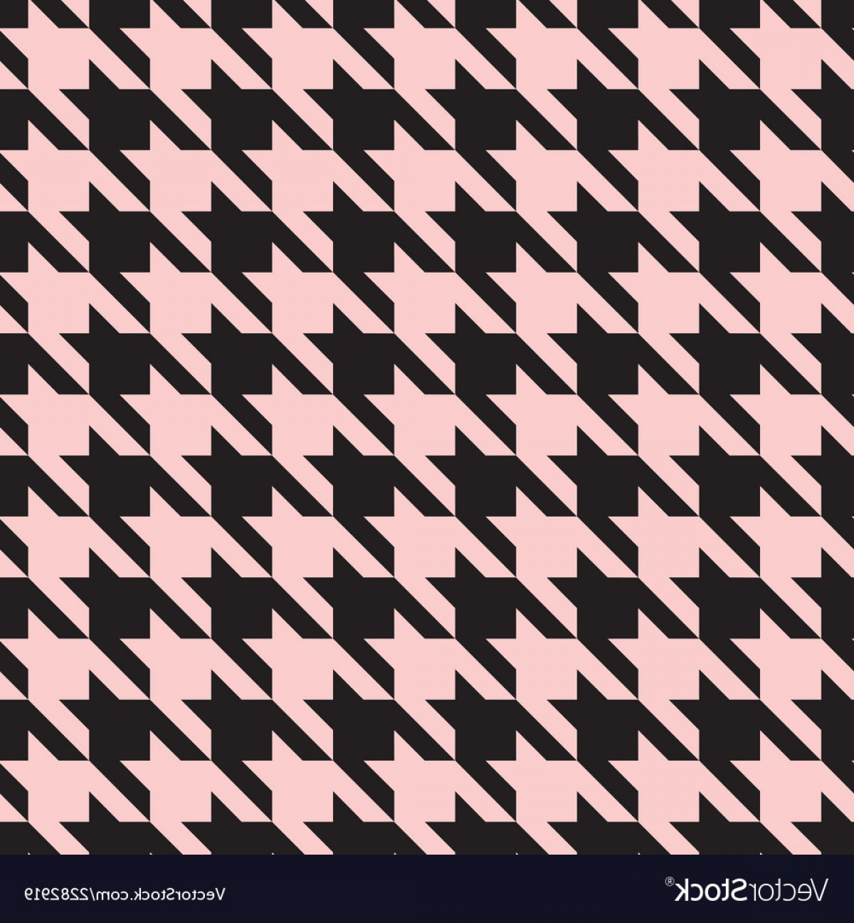 Pink And Black Houndstooth Vector: Houndstooth Tile Pastel Pink And Black Pattern Vector