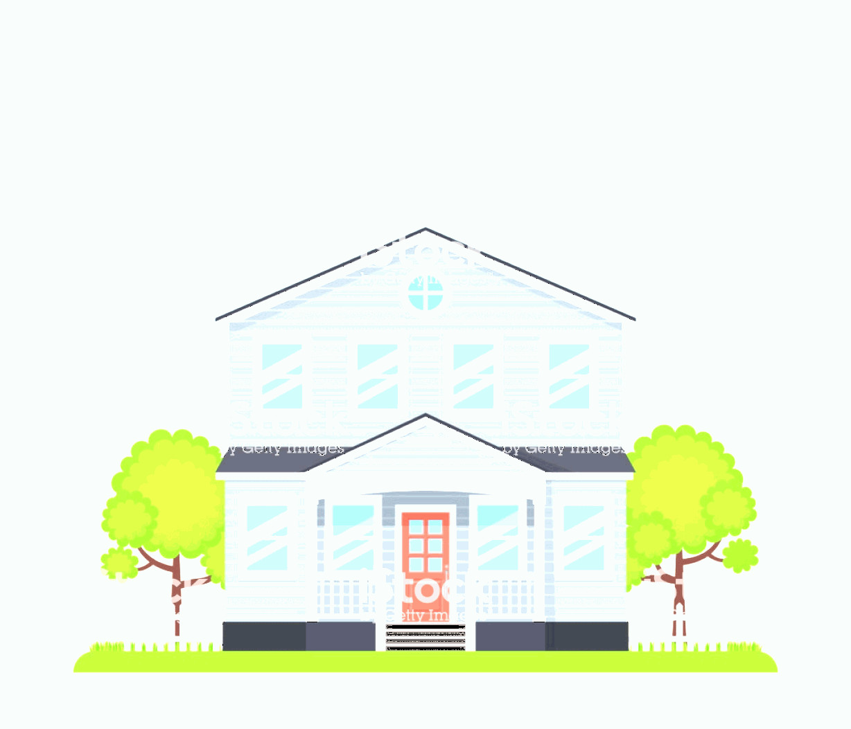 Flat Vector House: House Exterior Front View Vector Illustration Flat Design Gm