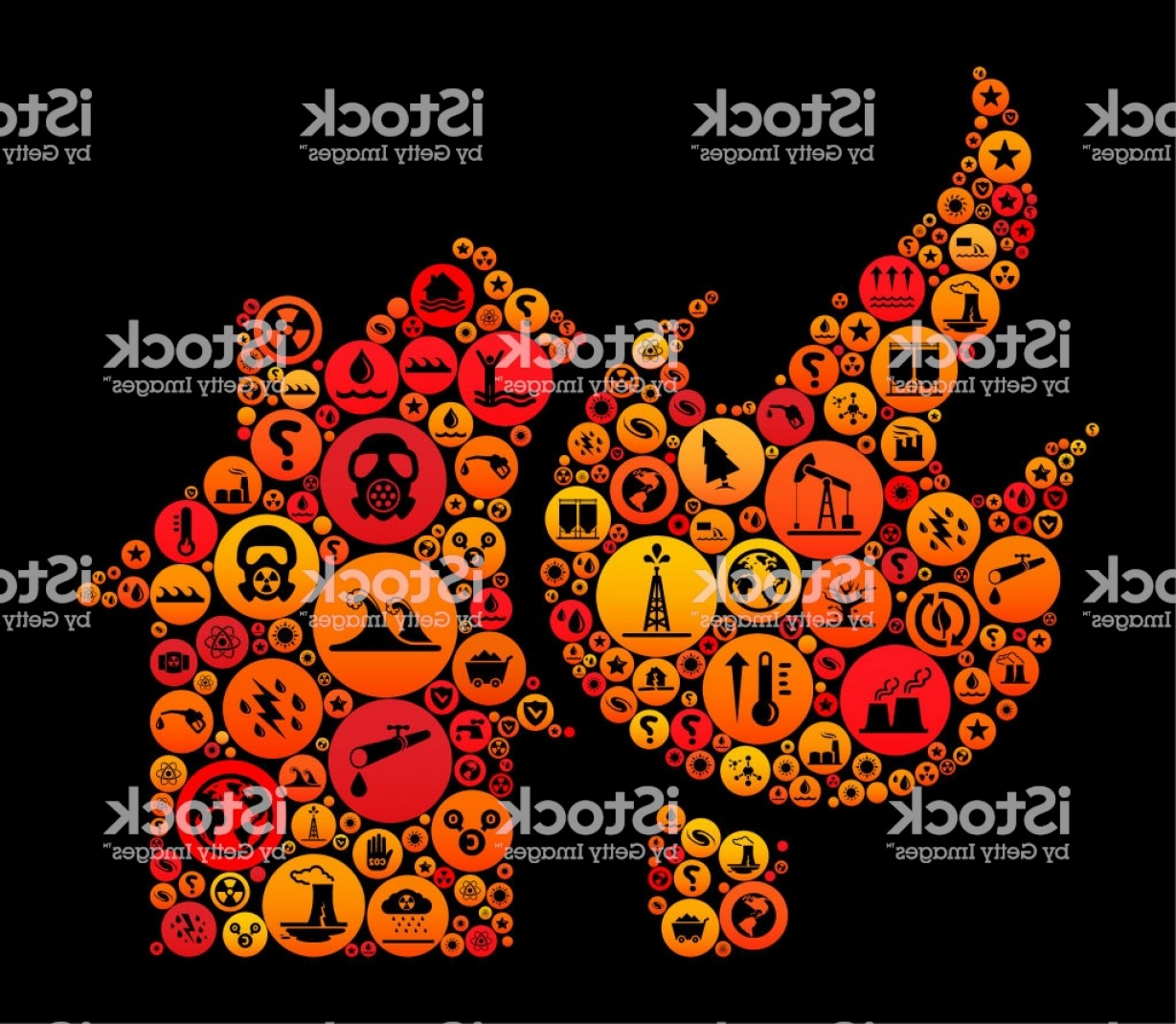 Vector Flame Stick Pattern: House Fire Climate Change Vector Icon Pattern Gm