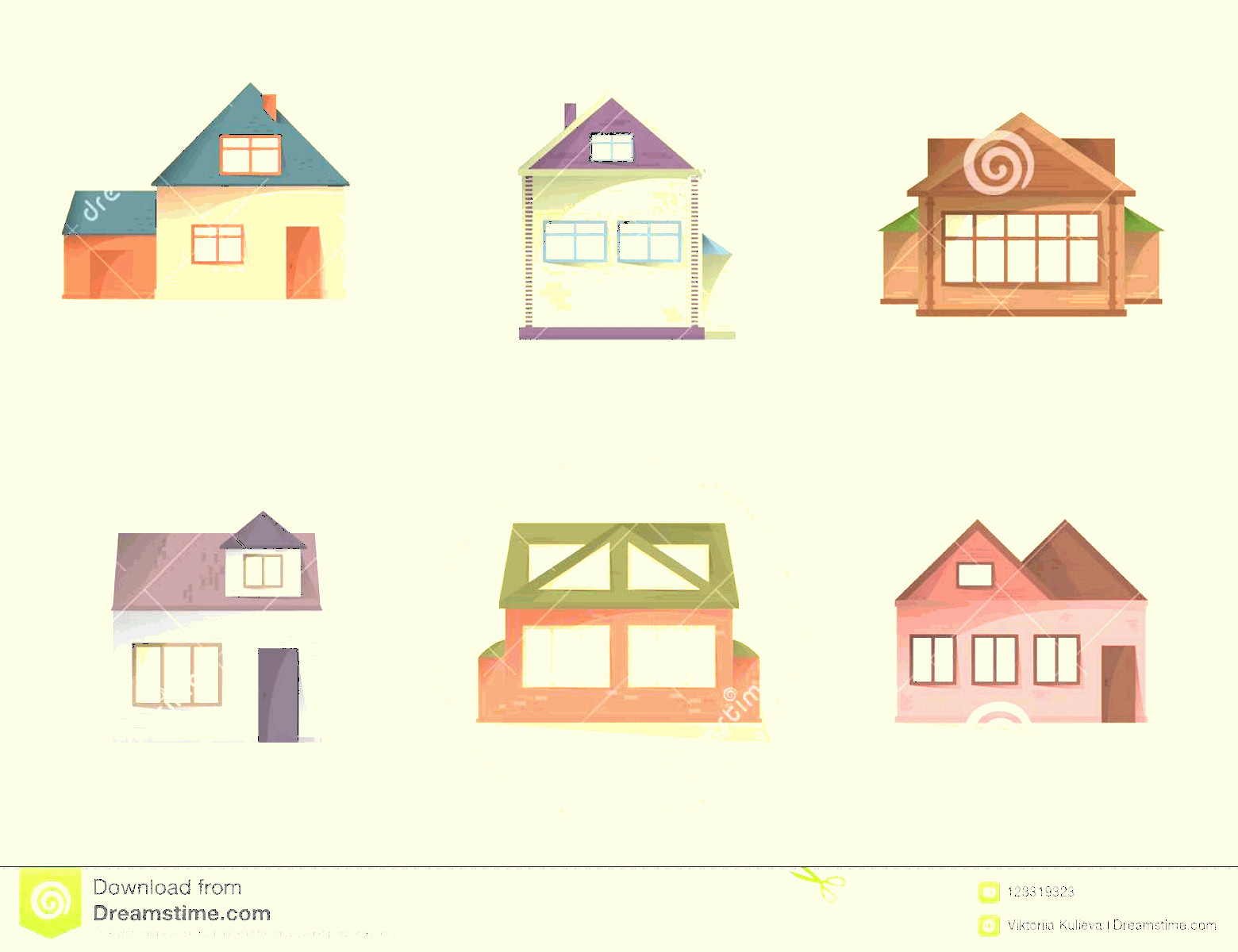Flat Vector House: House Icons Set Different Type Houses Building Facades Semi Flat Style Shadows Vector House Icons Set Different Type Image