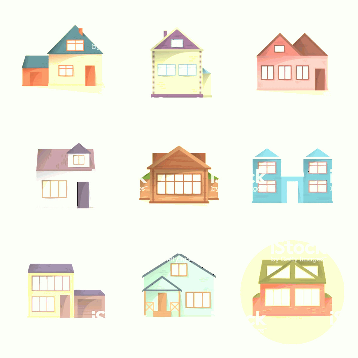 Flat Vector House: House Icons Set Different Type Of Houses Building Facades Semi Flat Style With Gm