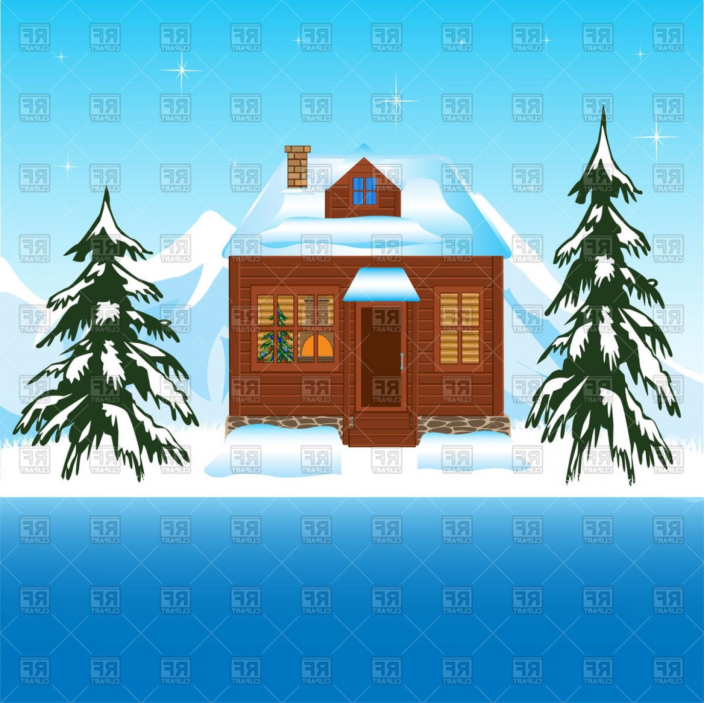 Free Winter Vector: House In Winter Wood Amongst Mountains Vector Clipart