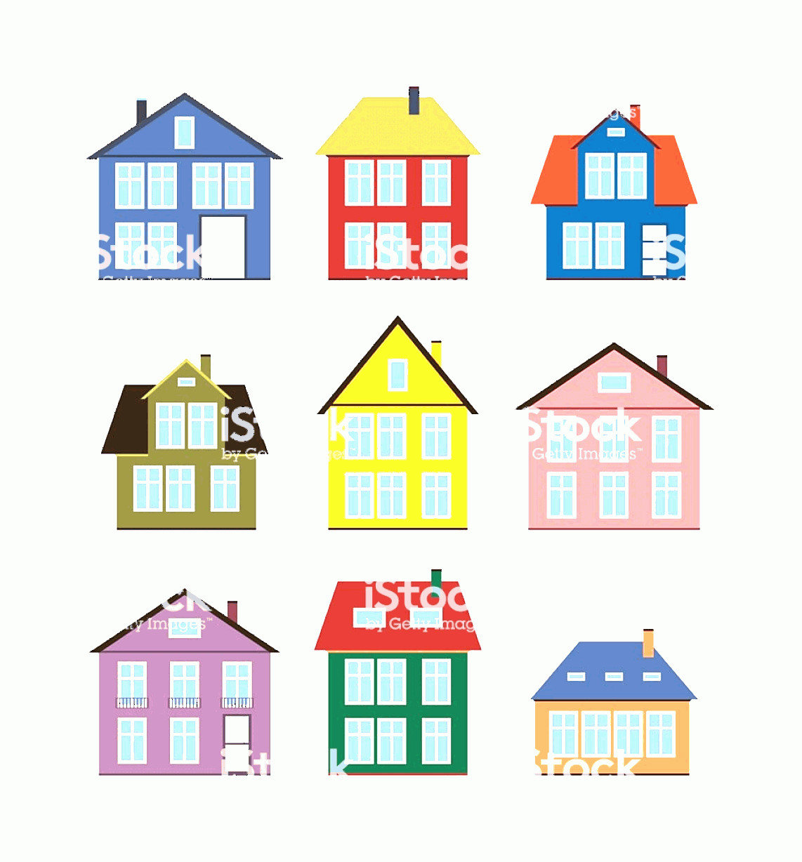 Flat Vector House: House Set Flat Icons Different Houses Vector Illustration Gm