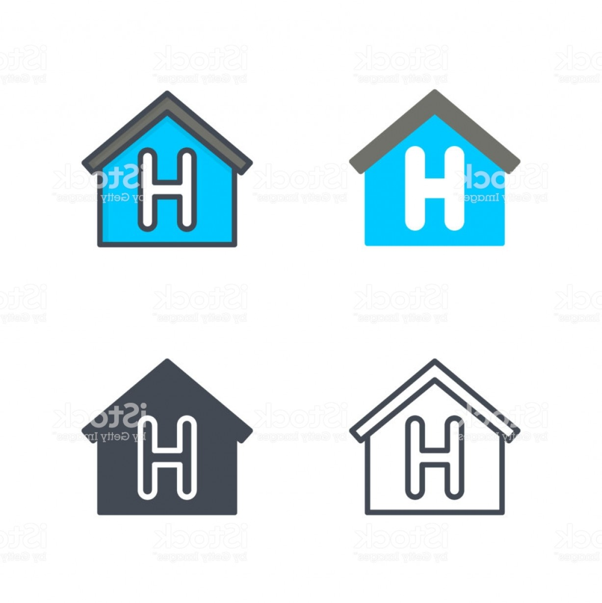 Vector House Sign: House Sign Service Icon Vector Flat Line Silhouette Colored Gm
