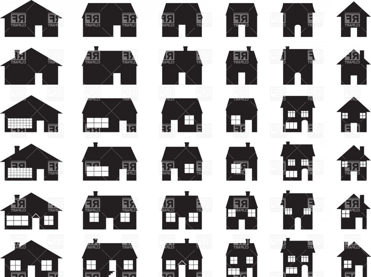 House Clip Art Vector: House Silhouette Of Suburban Building Vector Clipart