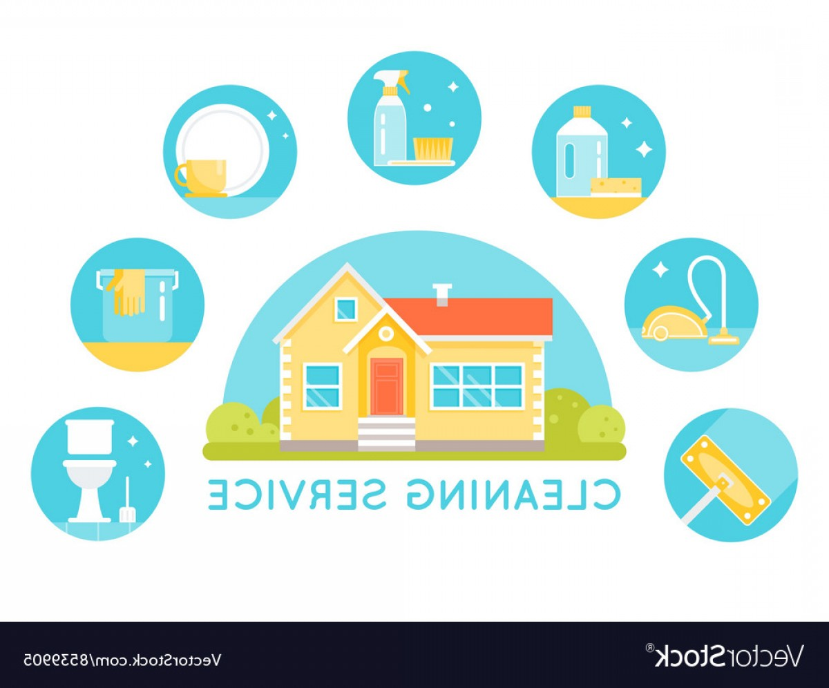 Cleaning Vector Janitorail: House Surrounded By Cleaning Services Images Vector