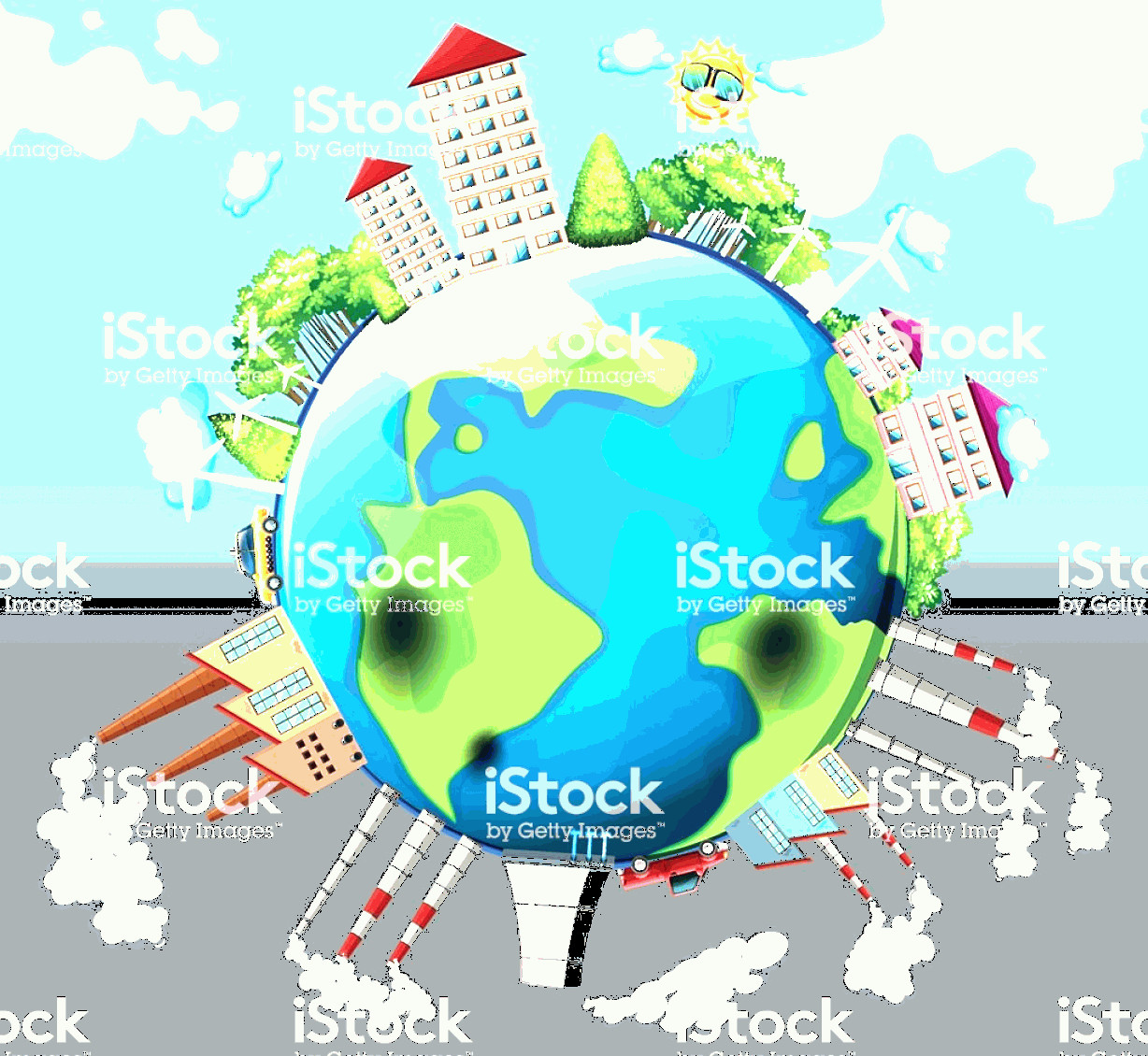 Earth With Buildings Vector: Houses And Factory Buildings On Earth Gm