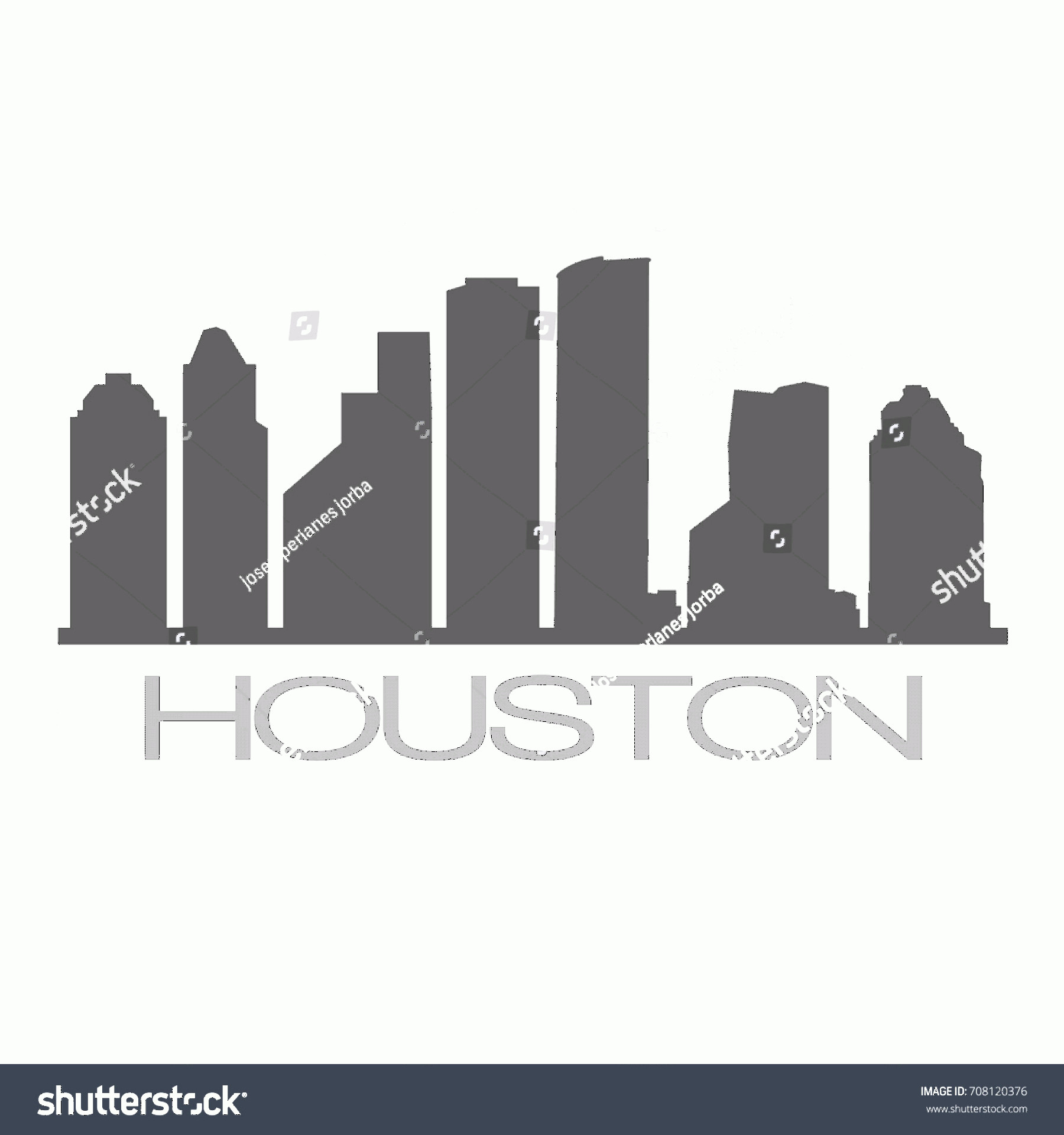 Vector Houston TX: Houston Skyline Silhouette City Design Vector