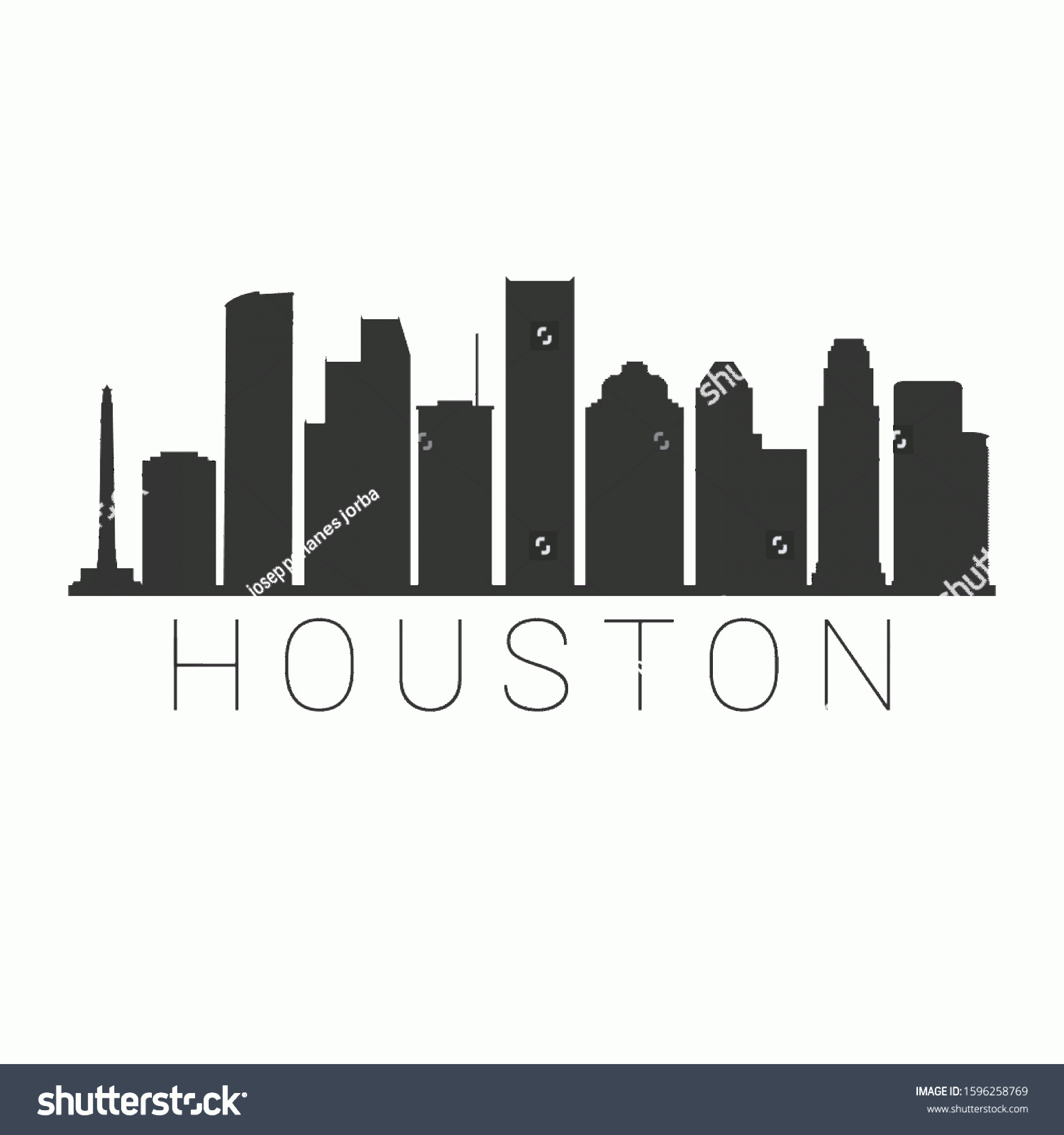 Vector Houston TX: Houston Texas Skyline Silhouette City Design